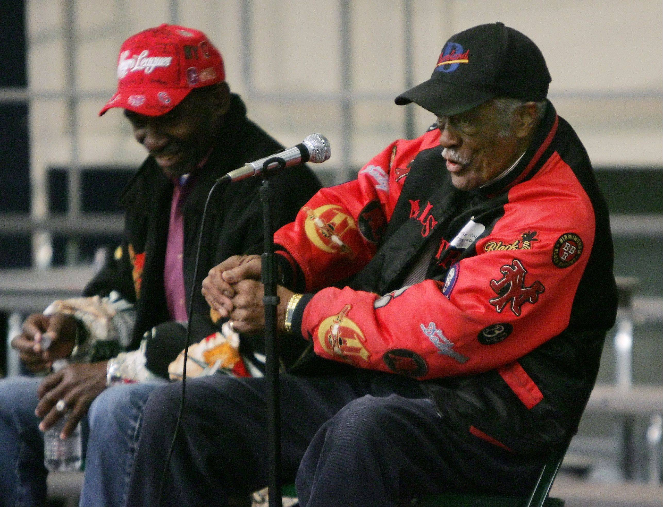 "Negro league baseball player Hank ""Baby"" Presswood talks about hitting against pitching legend Satchel Paige. Presswood and Ray ""Boo Baby"" Knox discussed their playing days with fifth grade students Wednesday at Woodland Intermediate School in Gurnee as part of Black History Month."