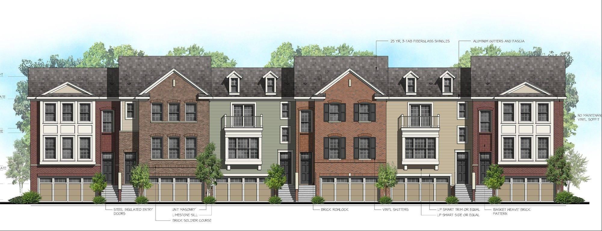An architectural rendering of one of the row house buildings proposed for the 12-acre Pleasant Square residential development in Schaumburg. The project, which also includes a park, single-family homes and townhouses, received several village approvals this week.
