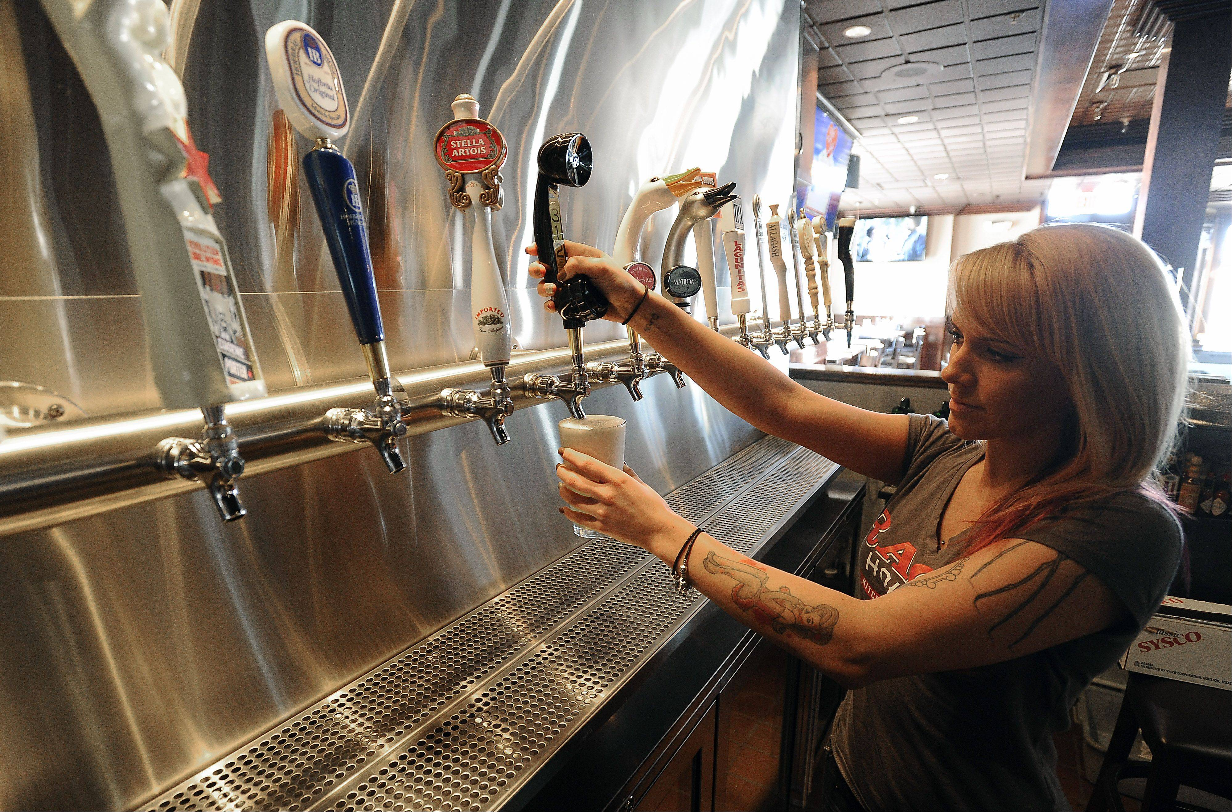 Bartender Suzy Jamina of Palatine serves up over 23 different ales.