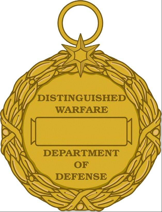 This image released by the Defense Department shows the reverse view of the newly announced Distinguished Warefare Medal. The military has stopped production of a new medal for remote warfare troops -- drone operators and cyber warfighters -- as it considers complaints from veterans and lawmakers over the award, a government official said Tuesday.