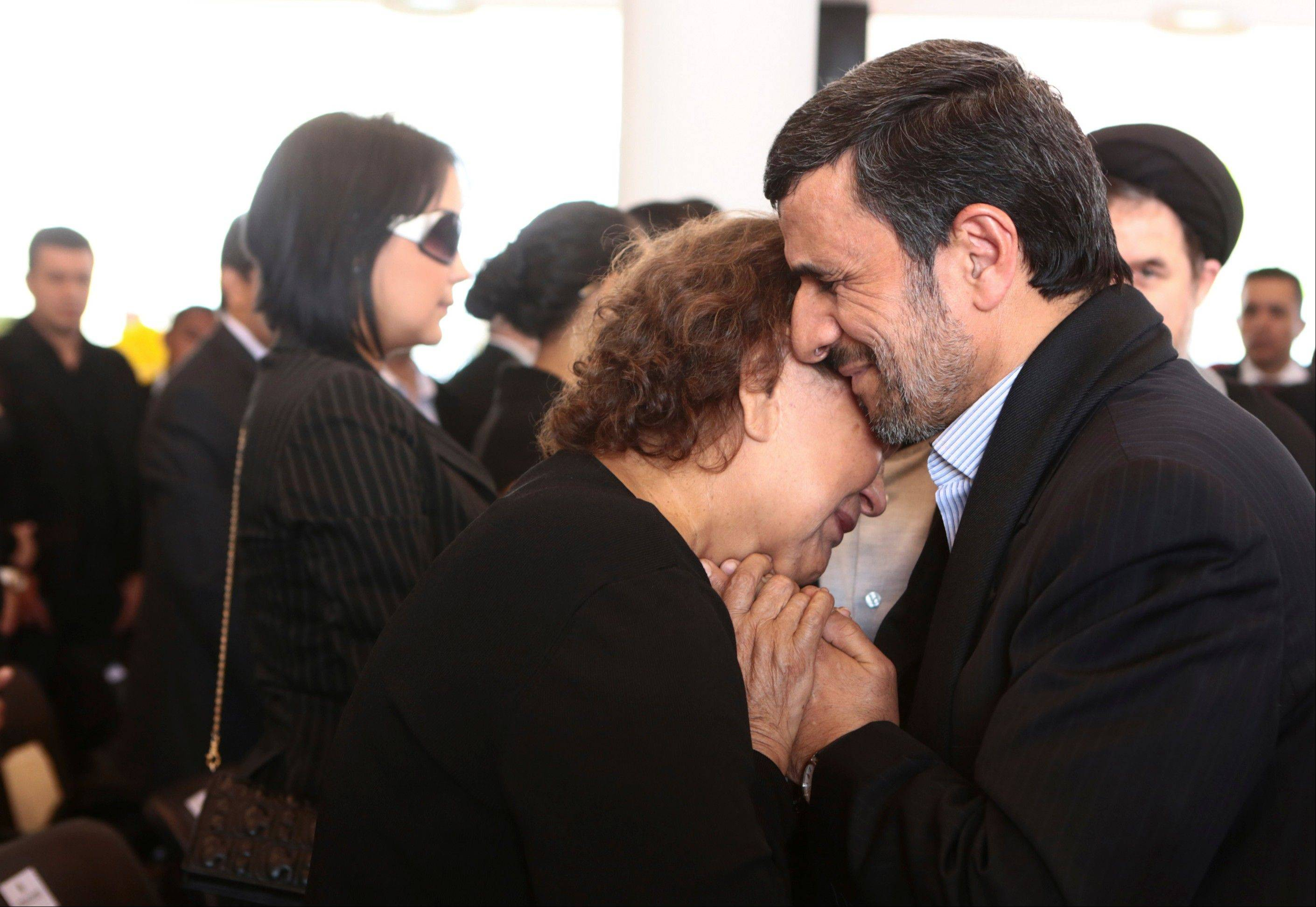 Senior Iranian clerics have criticized President Mahmoud Ahmadinejad for consoling Hugo Chavez's mother with a hug -- a physical contact considered a sin under the country's strict Islamic codes.