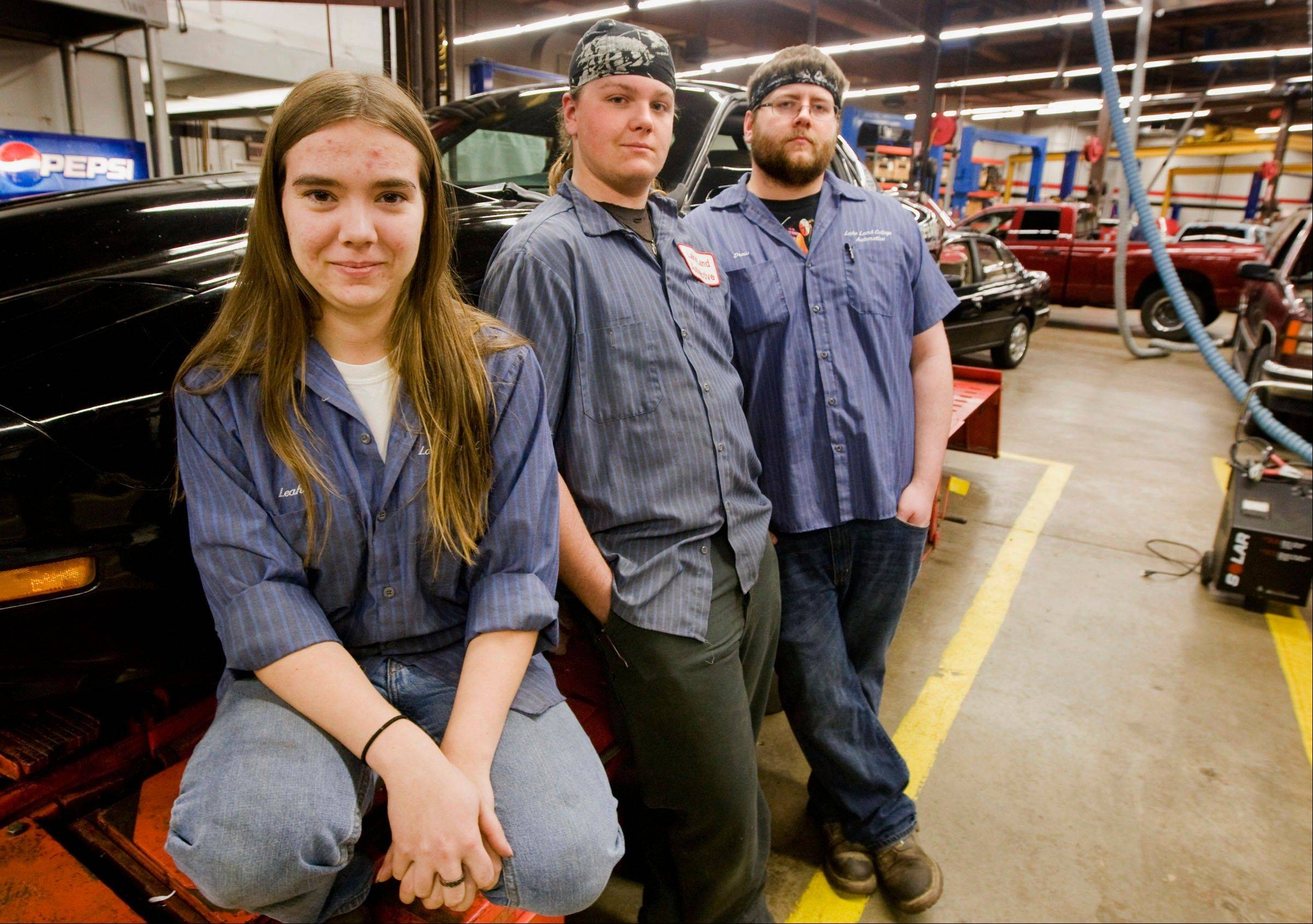 From Leah Oathout, Terry Adams and Drew Banks, members of the Lake Land College Automotive Club who work on and race cars for the school in Mattoon, Ill. Oathout, 20, from Bethany, Ill., is an automotive major who has been dabbling in extracurricular drag .