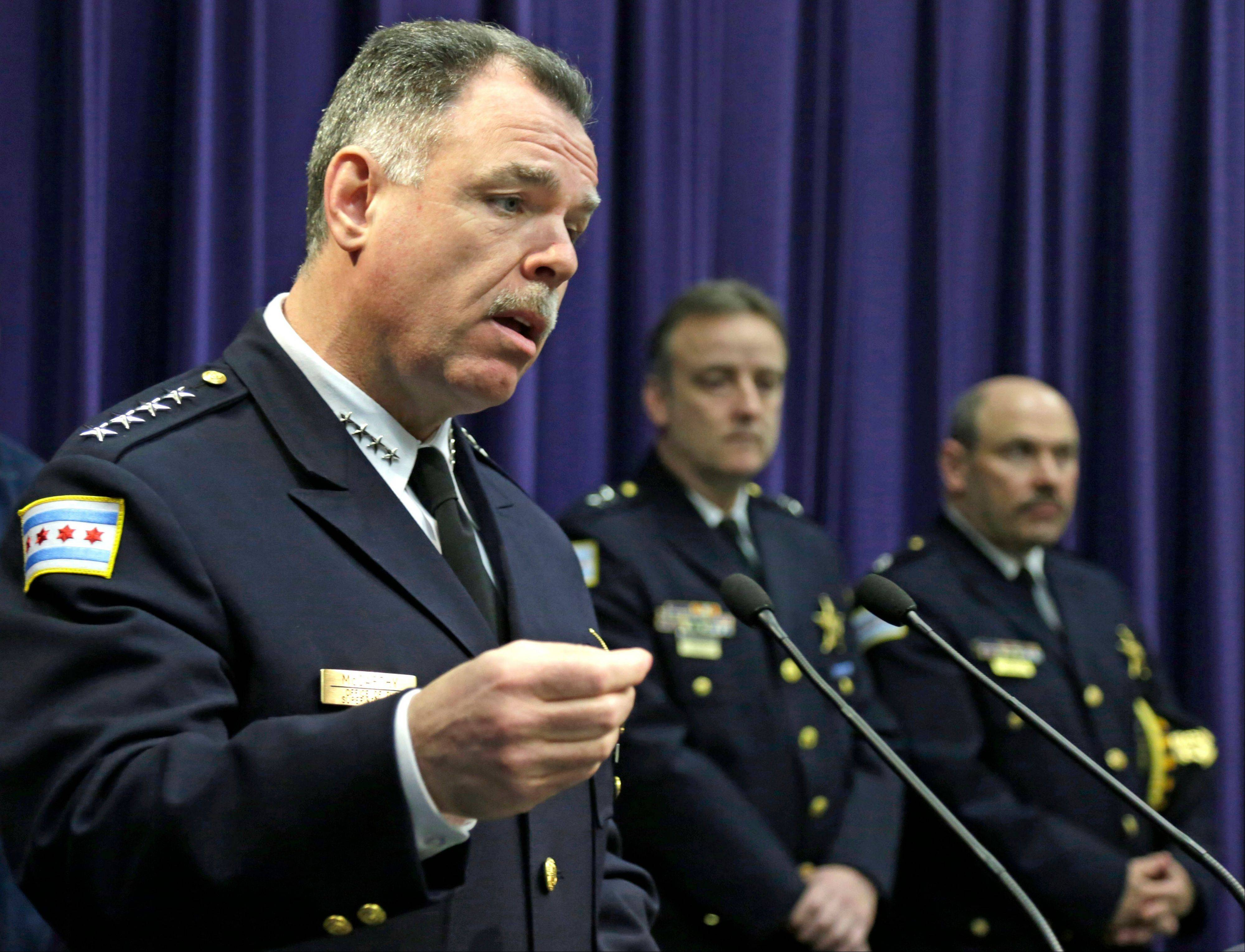 Chicago Police Superintendent Garry McCarthy speaks at a news conference Tuesday about the shooting of a 6-month-old girl and her father Monday on the South Side.