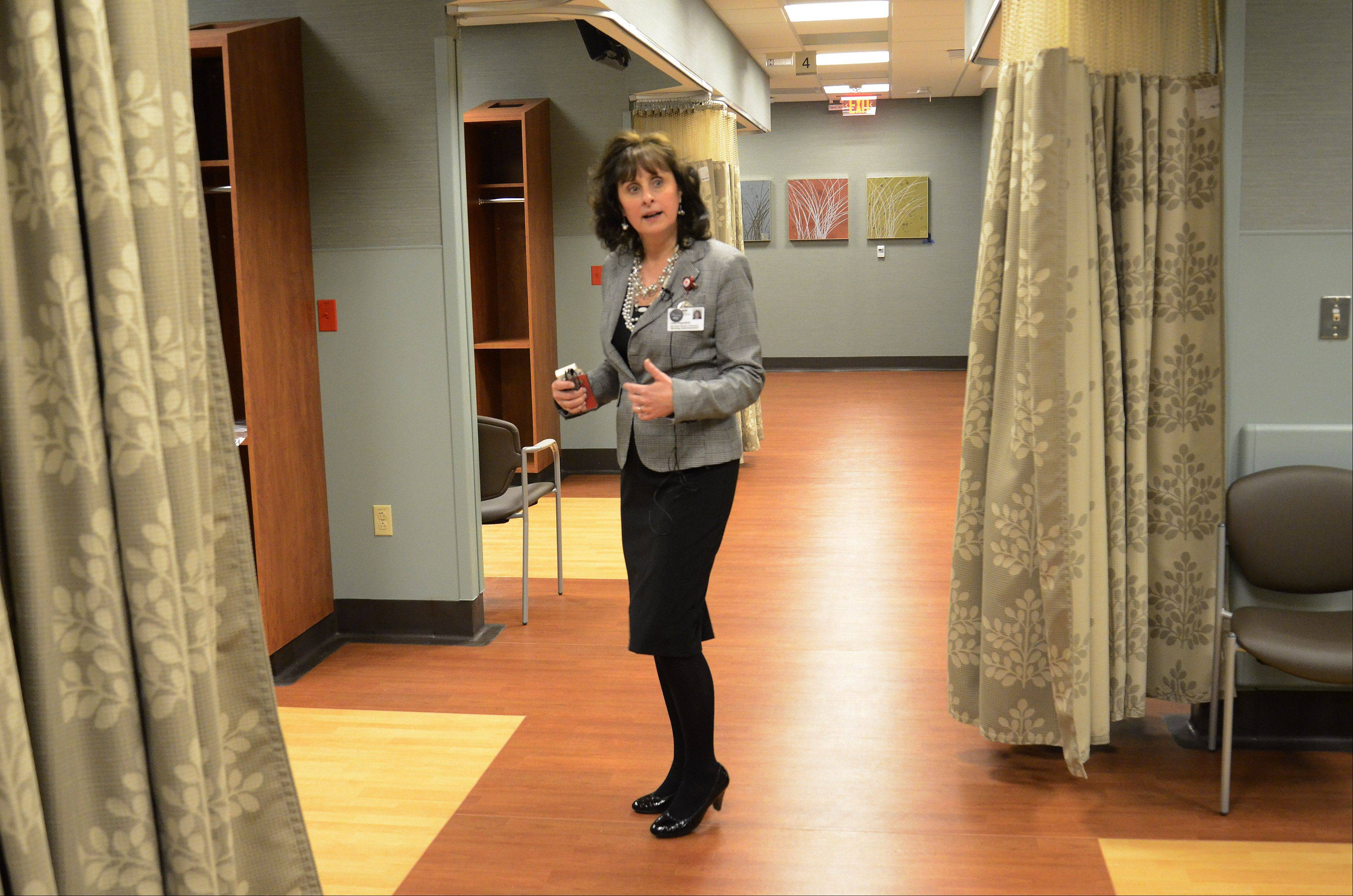 Executive Director of Nursing Joan Cappelletti tours the triage area of the new Alexian Brothers Women and Children's Hospital.
