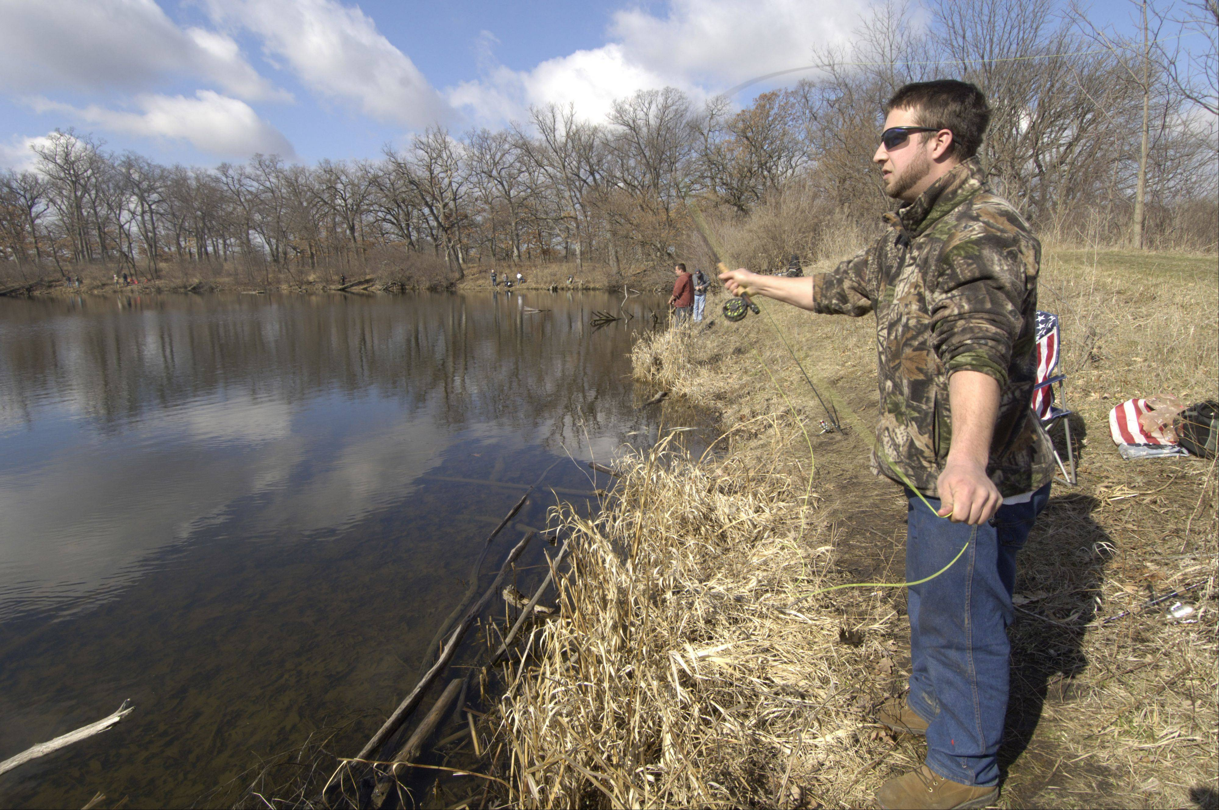 Steve Treutler of Wheeling fishes for trout at Lakewood Forest Preserve's Banana Lake near Wauconda.