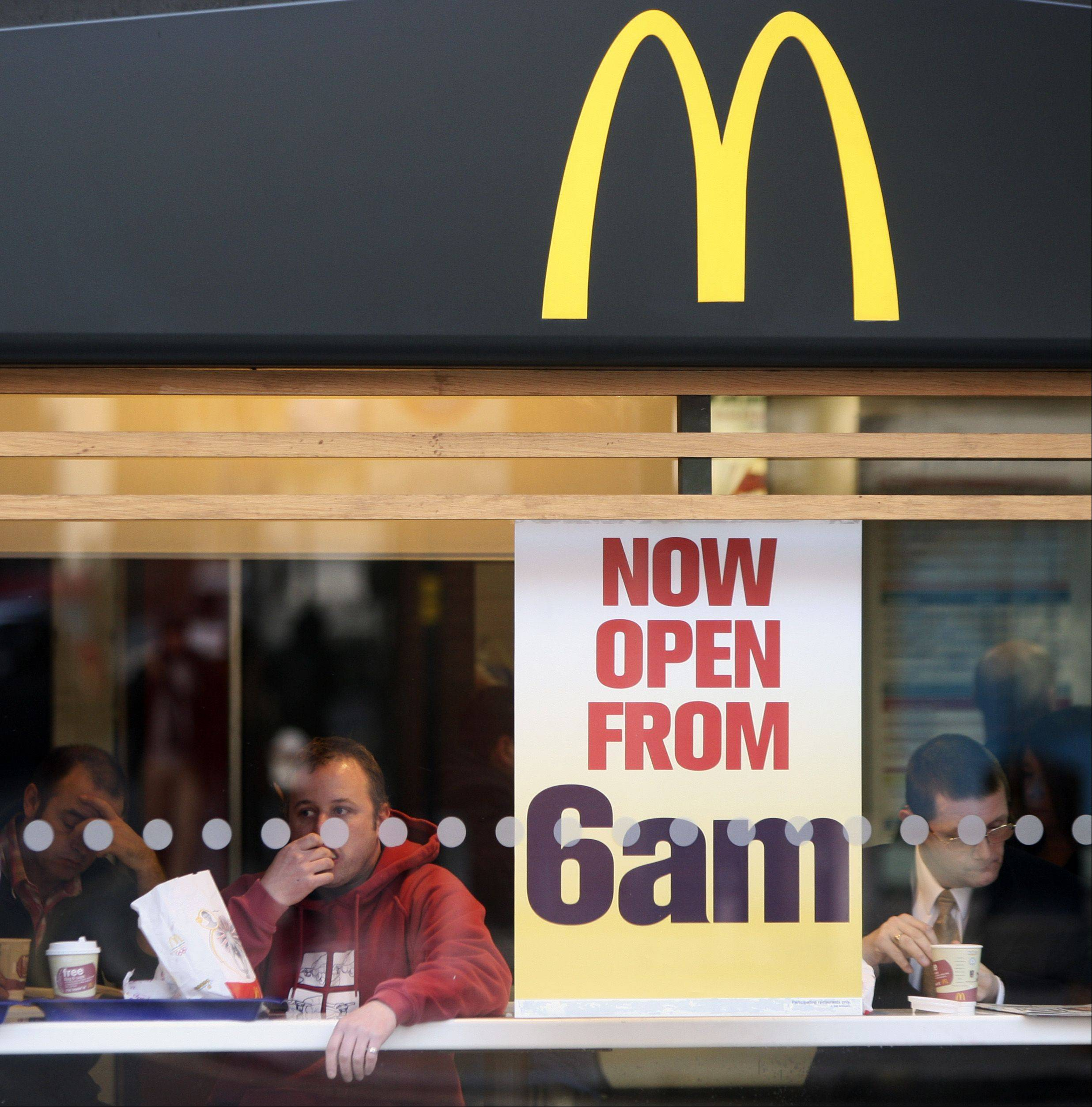 The front window of a branch of McDonald�s in London.