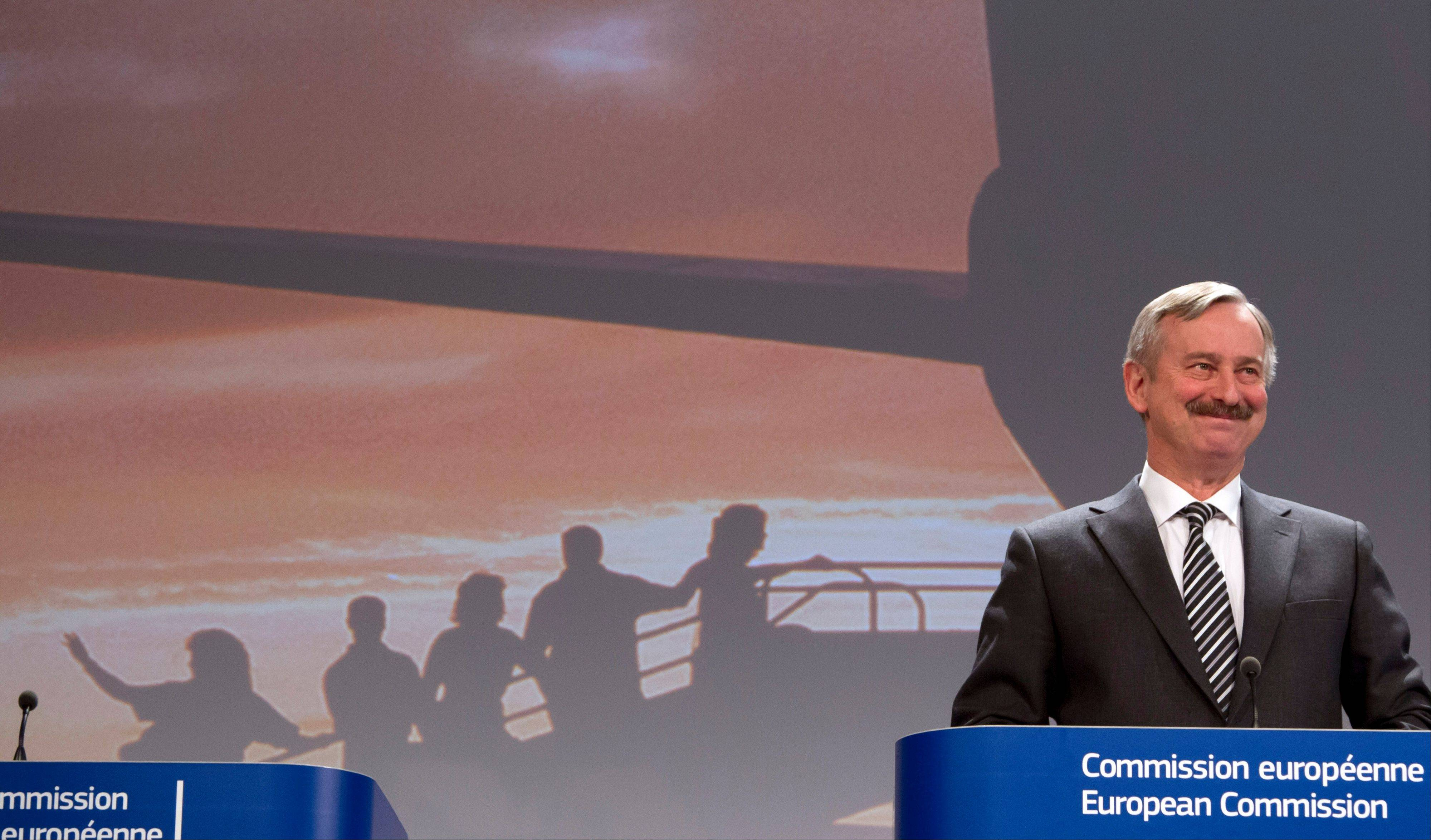 European Commissioner for Transport Siim Kallas speaks during a media conference at EU headquarters in Brussels on Wednesday. The European Union is considering beefed up measures for stranded passengers to get compensation and find quicker ways to get home.