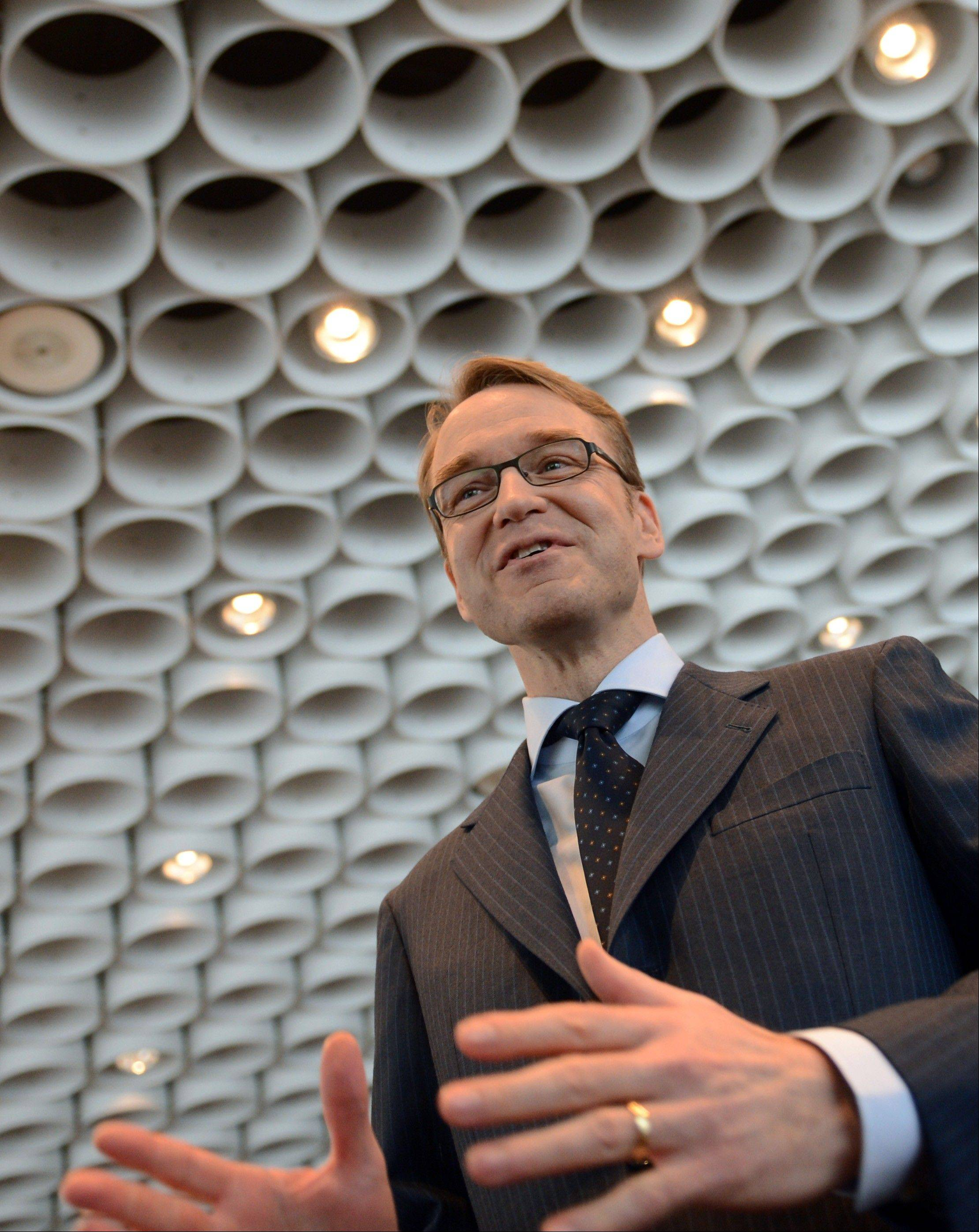 President of the German Central Bank Jens Weidmann arrives for the annual press conference at the headquarters of the German Central Bank in Frankfurt, central Germany, Tuesday,