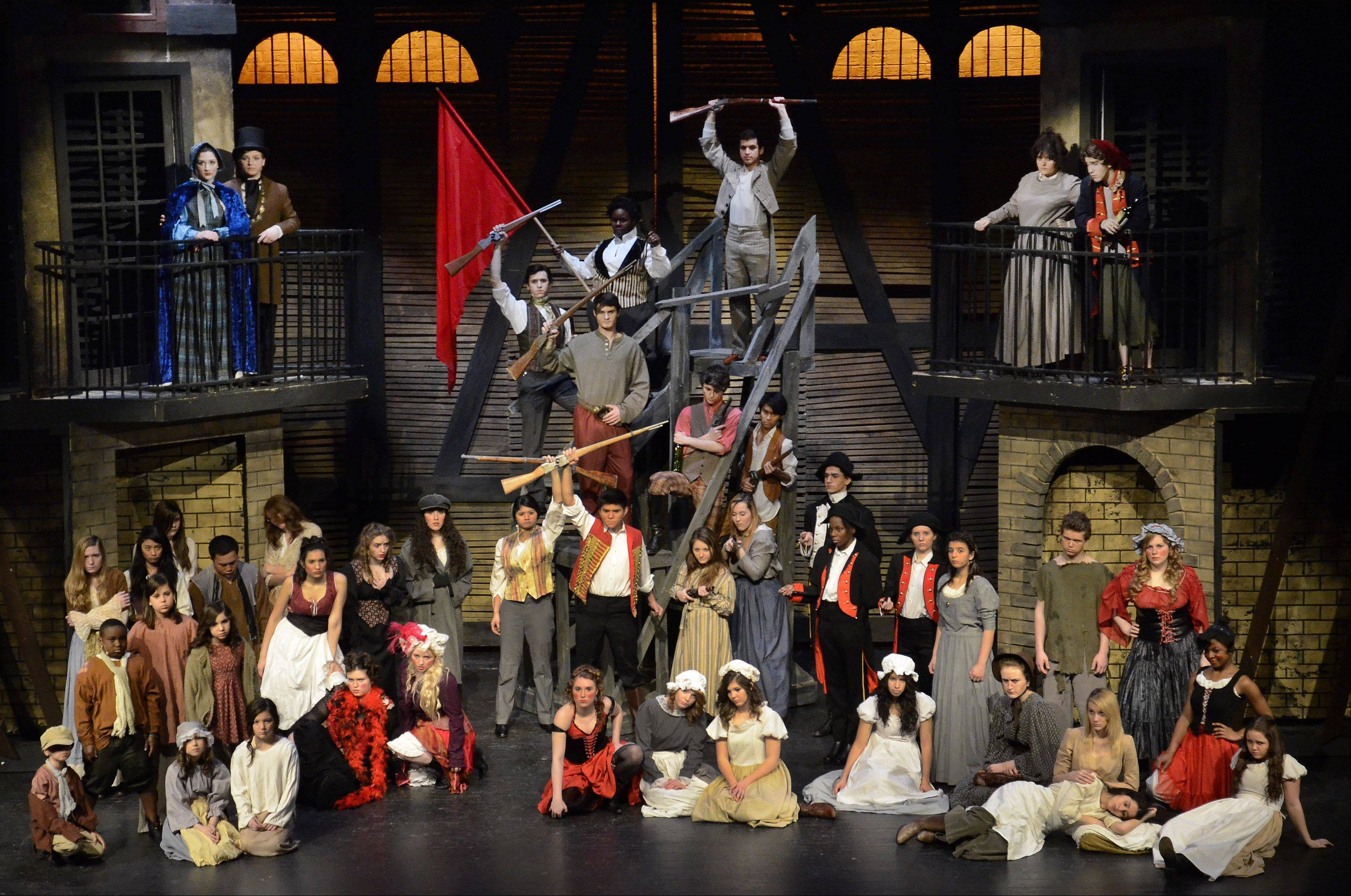 "This is the ensemble cast for Streamwood High School's production of ""Les Miserables"" at last week's dress rehearsal. The elaborate set design was made by master builder Joe Thomas and engineer Pete Ryan."