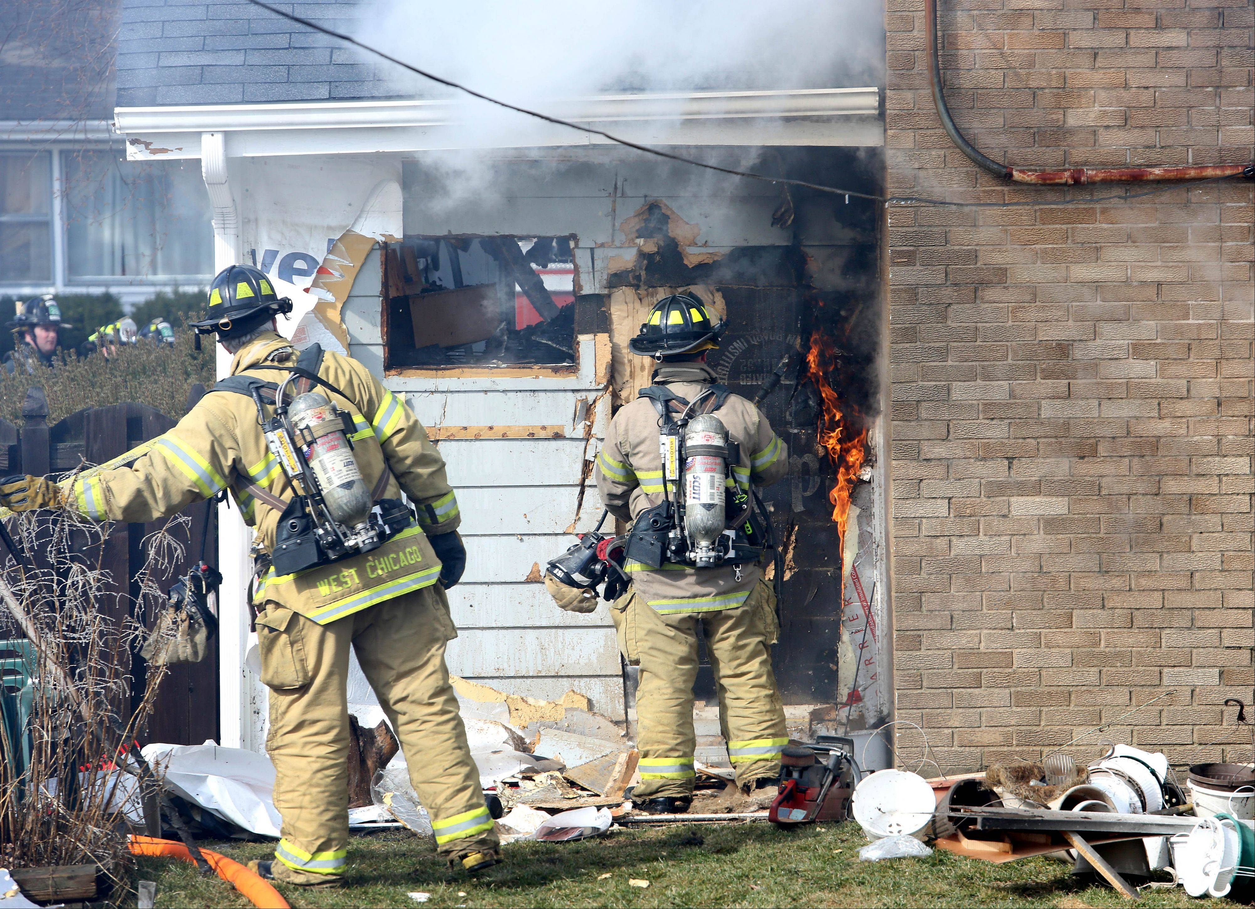 No injuries were reported Wednesday when fire swept through a house on the 400 block of N. Blackhawk Drive in Carol Stream.