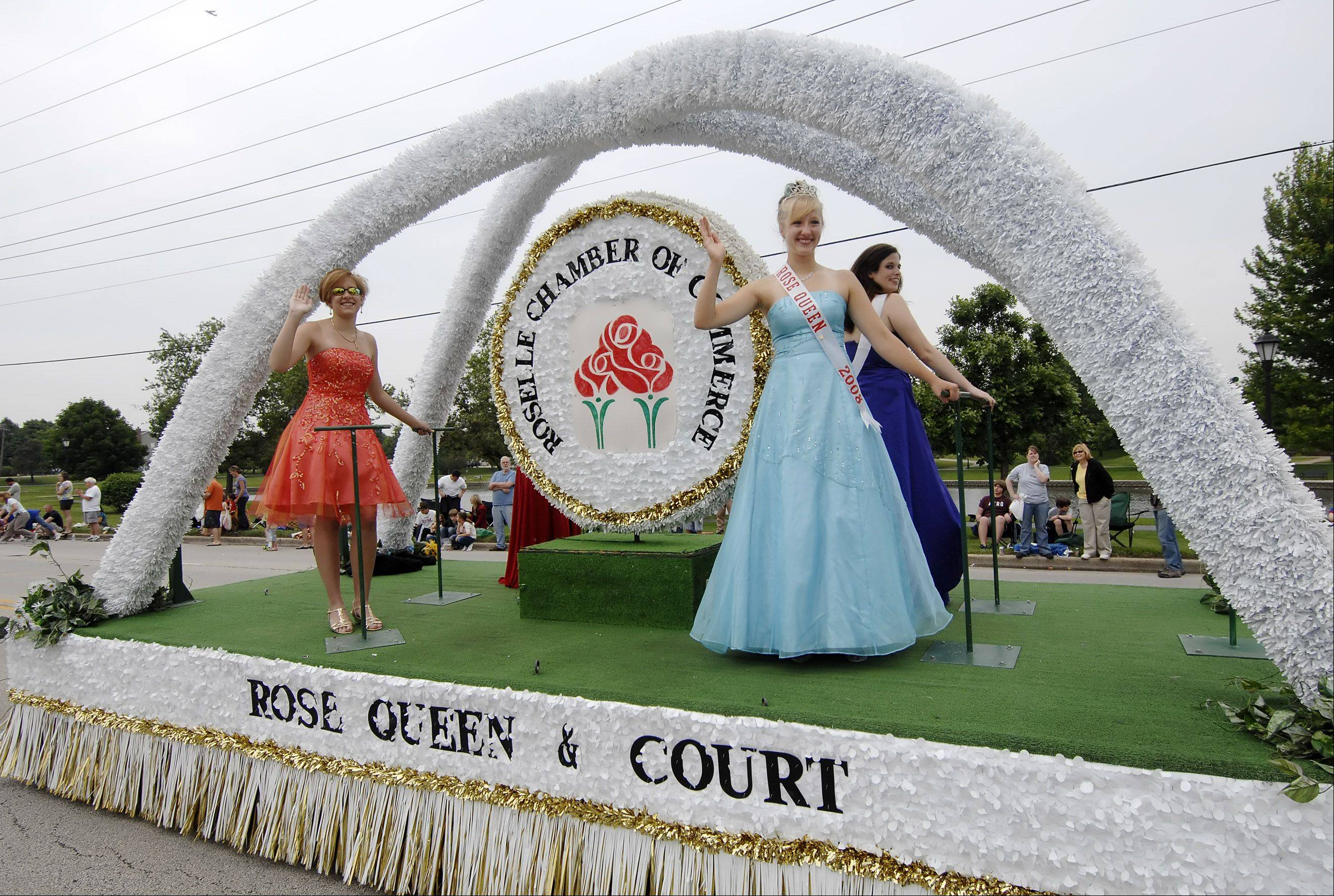 One of the Rose Queen's most visible duties is to ride with her court in Roselle's Rose Parade. The 2013 queen will be crowned in a pageant on Friday.