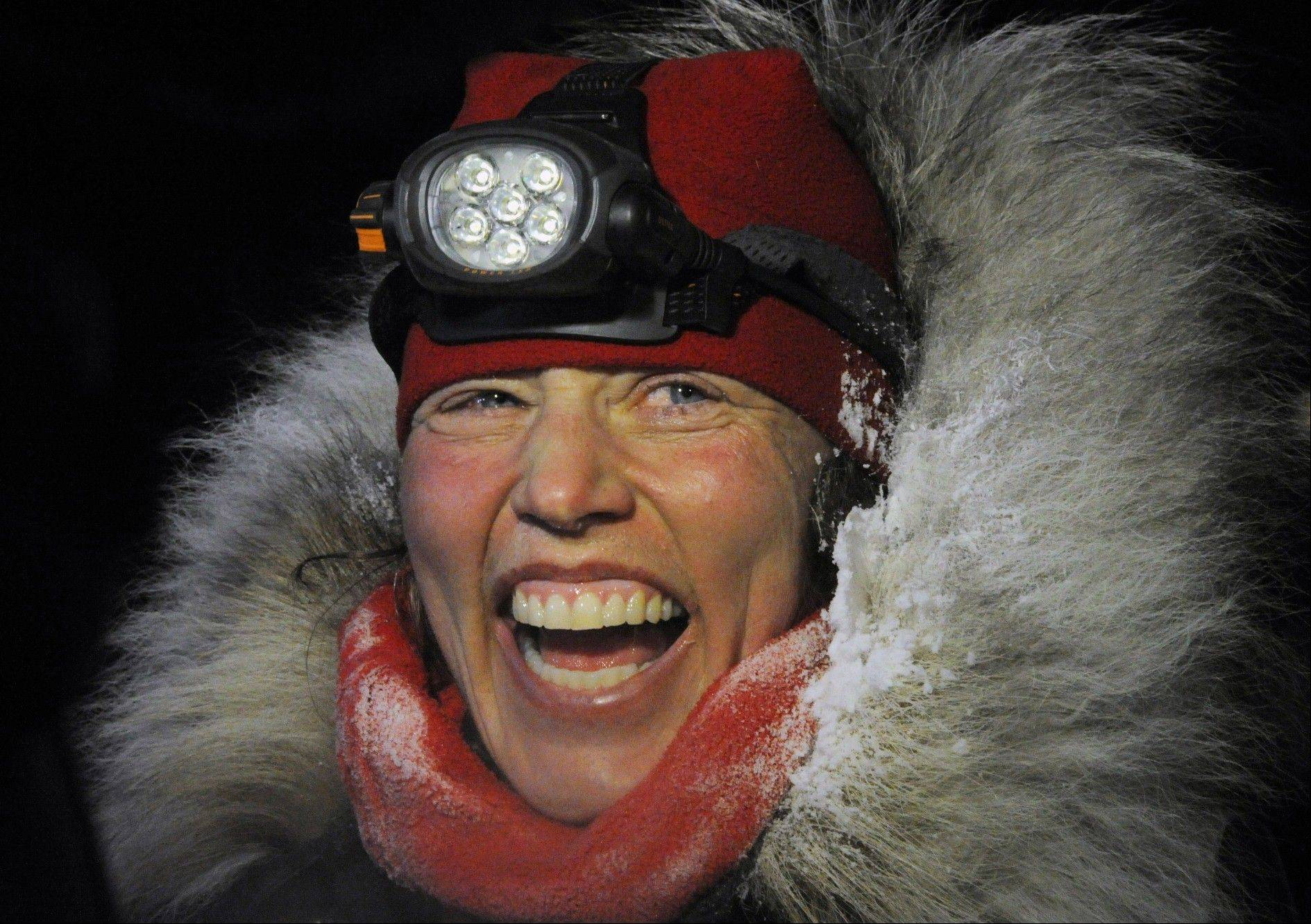 Aliy Zirkle finished second in the Iditarod for the second consecutive year when her dog team crossed under the burled arch in Nome on Tuesday evening, March 12, 2013.