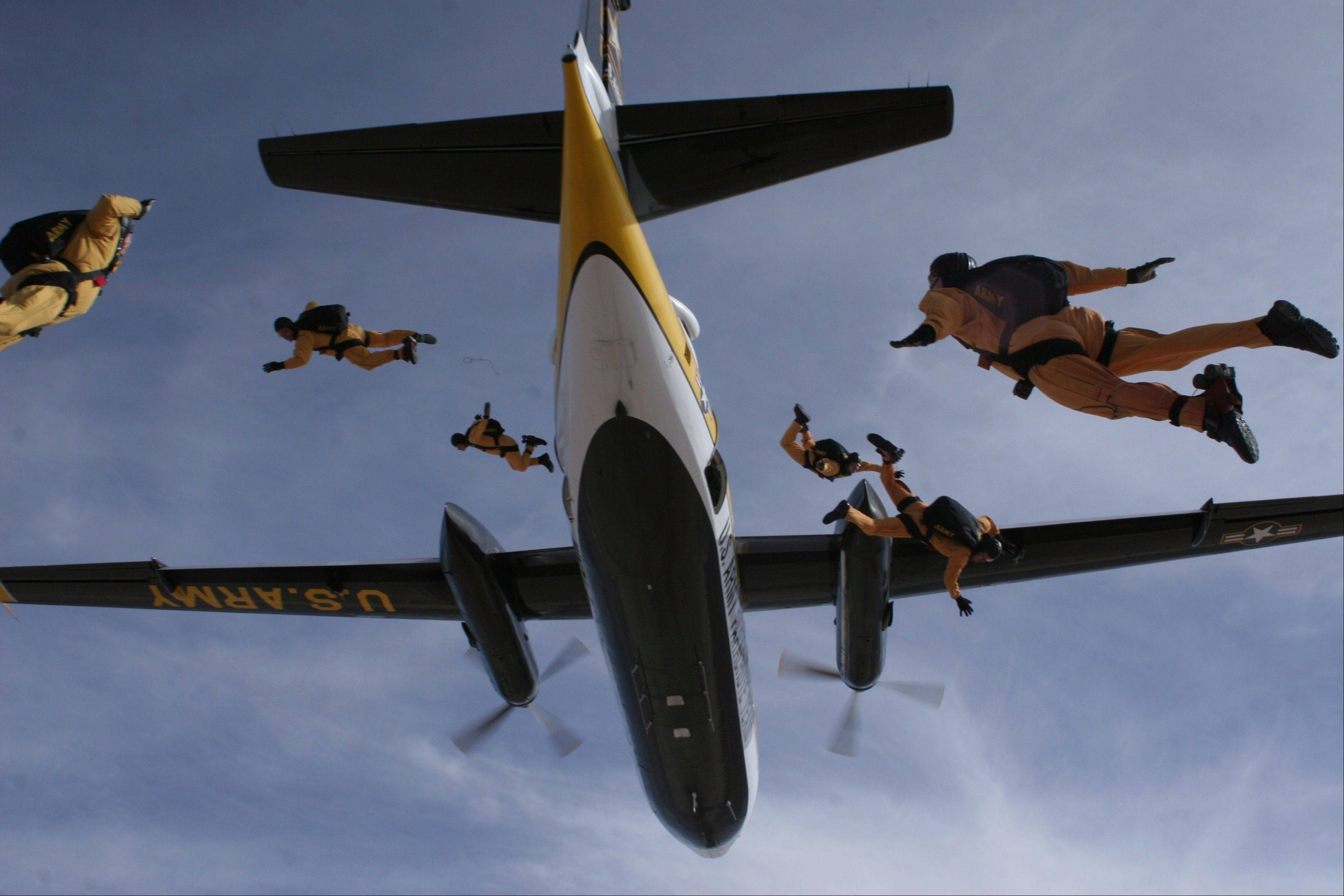 The U.S. Army parachute team, the Golden Knights.