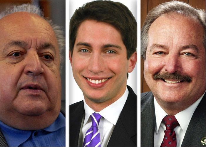 Tony Arredia, left, and Matthew Bogusz, center, and Mark Walsten, right, are candidates for Des Plaines mayor.