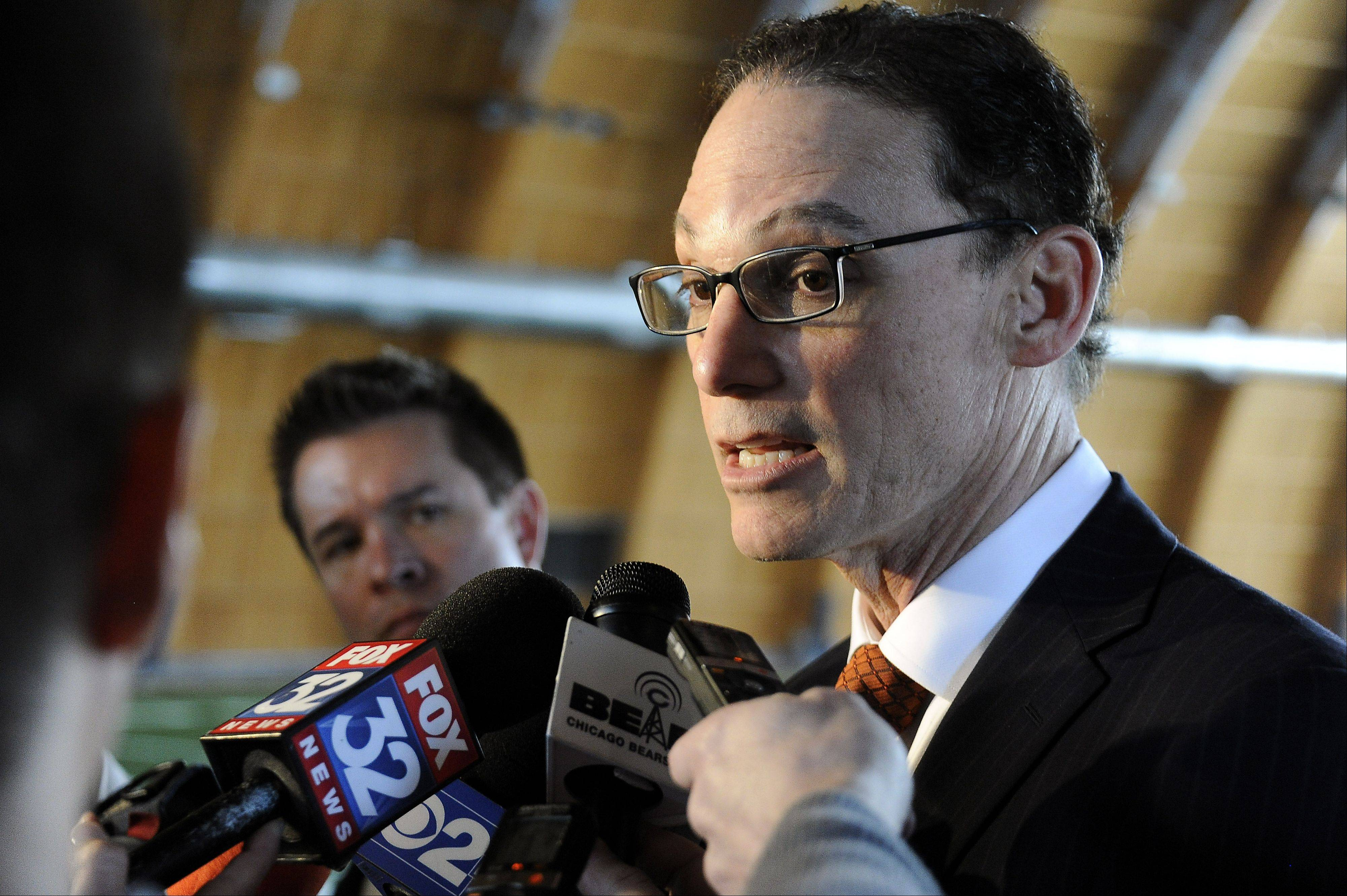 Bears head coach Marc Trestman answers questions concerning the new Bears players Martellus Bennett and Jermon Bushrod at the Walter Payton Center in Lake Forest on Wednesday.