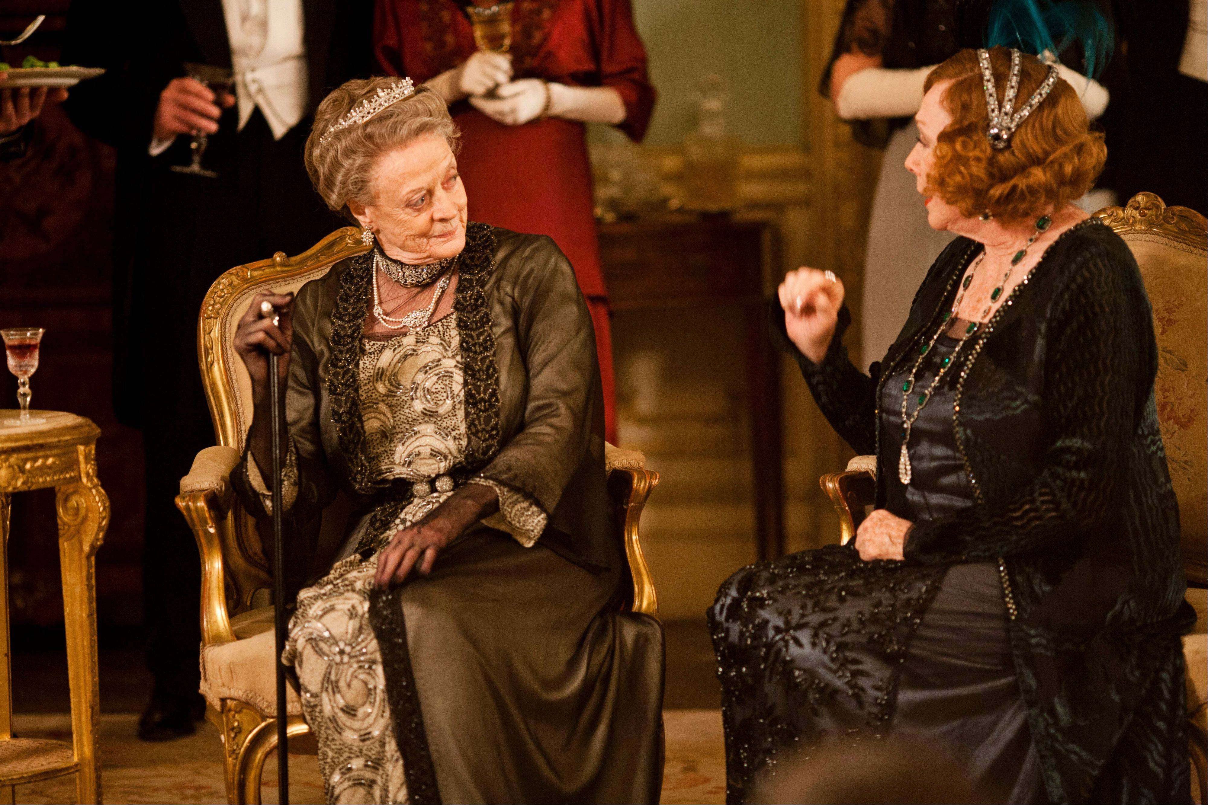 Maggie Smith as the Dowager Countess, left, and Shirley MacLaine as Martha Levinson from the TV series, �Downton Abbey.�