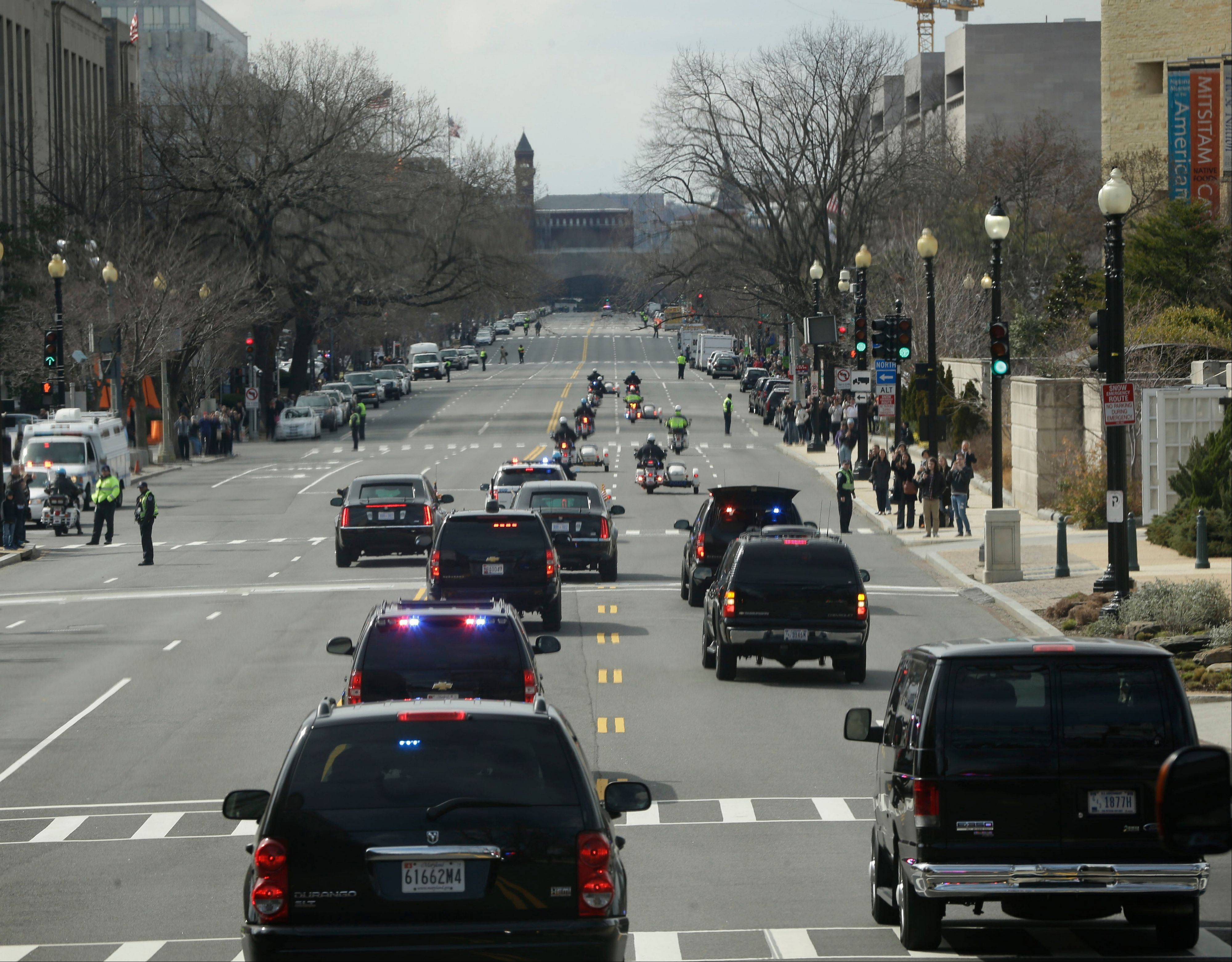 President Barack Obama�s motorcade is seen on Independence Ave., on the return trip to the White House in Washington, Wednesday.