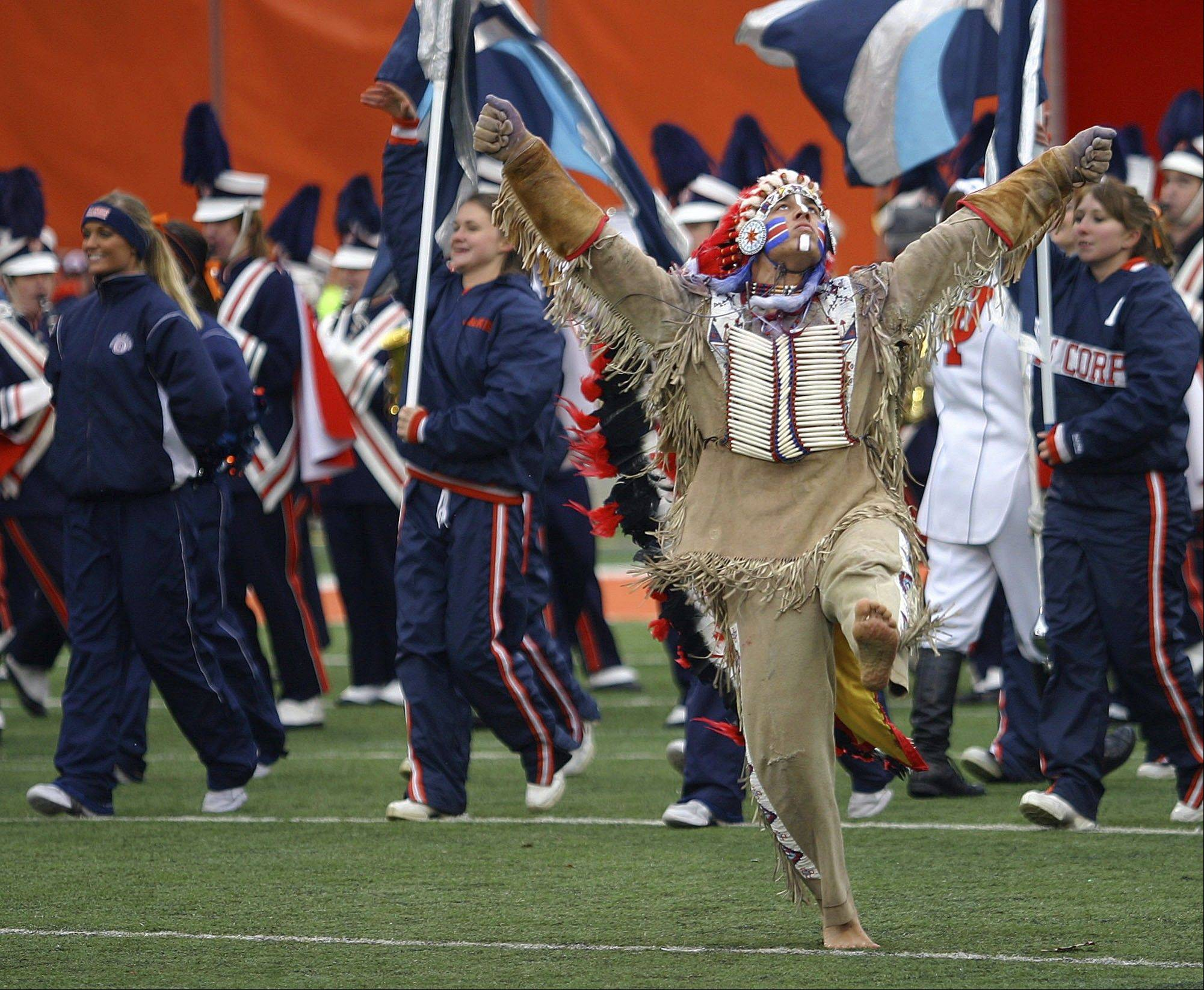 Chief Illiniwek performs at halftime during a football against Purdue on Nov. 11, 2006, at Memorial Stadium in Champaign.
