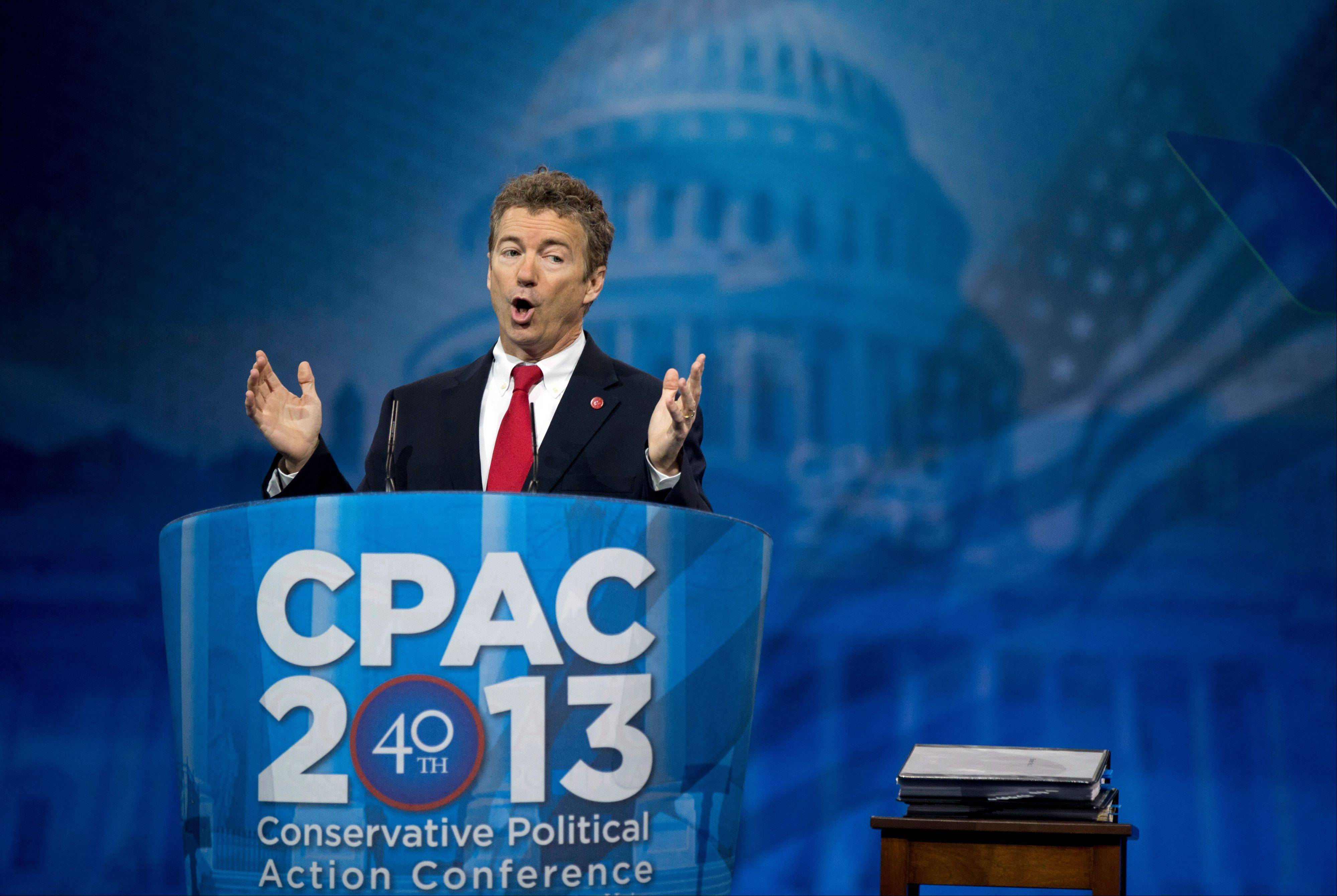 Sen. Rand Paul, a Kentucky Republican, speaks at the 40th annual Conservative Political Action Conference in National Harbor, Md., Thursday.