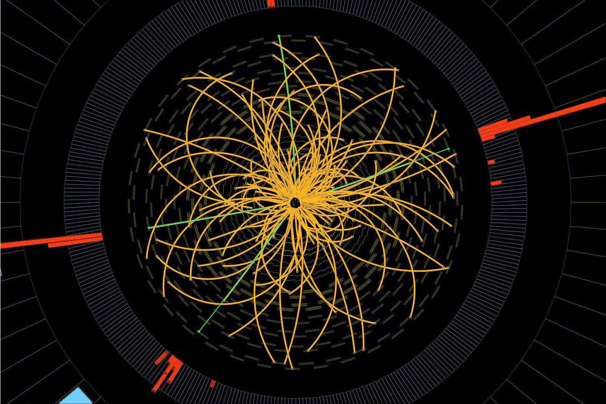 This 2011 image shows a real CMS proton-proton collision in which four high energy electrons (green lines and red towers) are observed in a 2011 event. The event shows characteristics expected from the decay of a Higgs boson but is also consistent with background Standard Model physics processes. Physicists say they are now confident they have discovered a long-sought subatomic particle known as a Higgs boson.