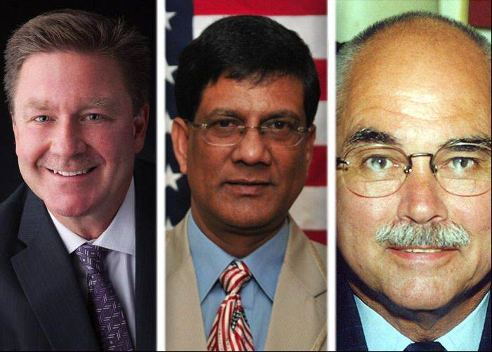 Keith Giagnorio, Moon Khan and John Lotus Novak are running for Lombard village president in the April 9 election.