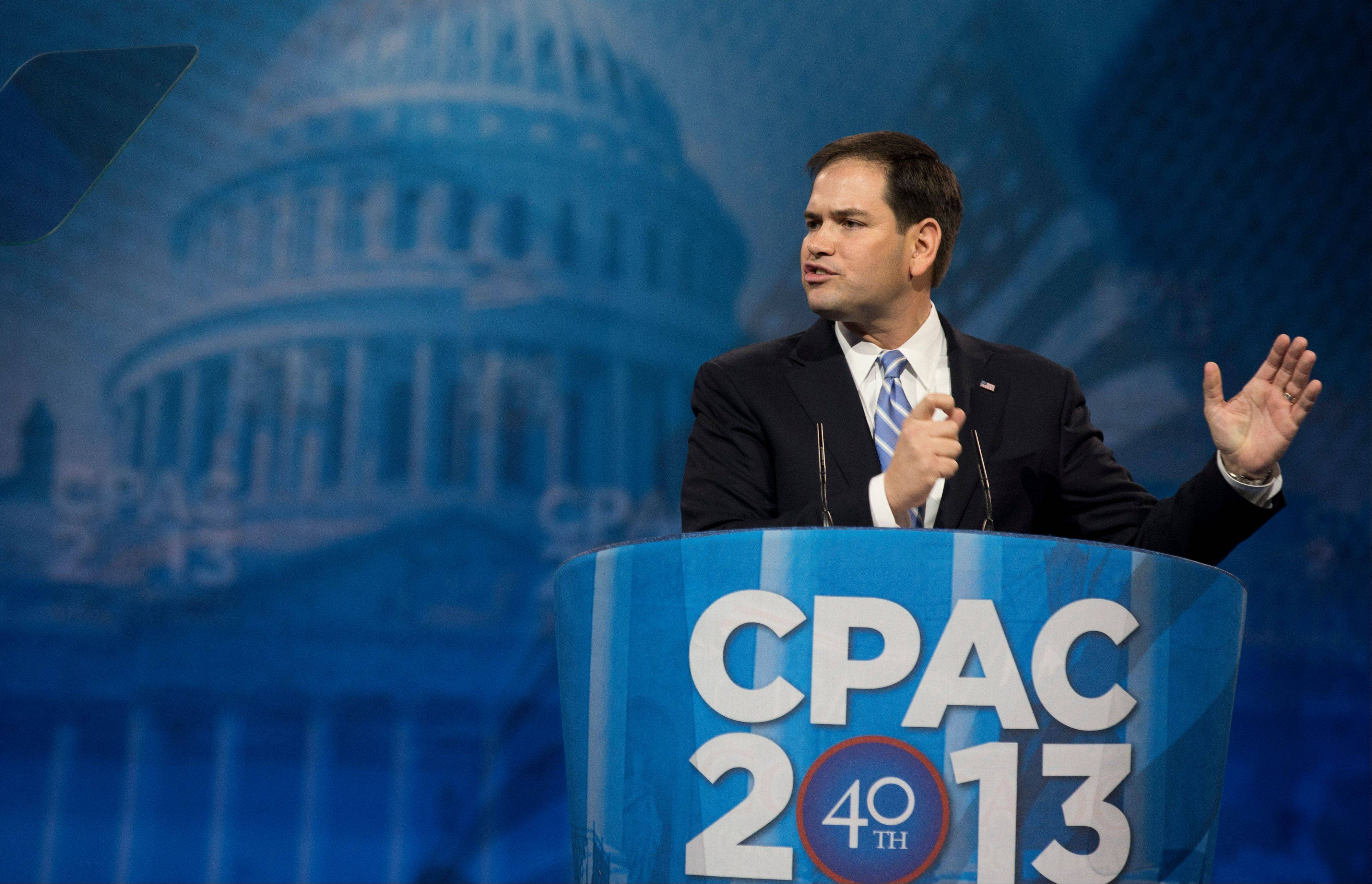 Sen. Marco Rubio, a Florida Republican, speaks at the 40th annual Conservative Political Action Conference in National Harbor, Md., Thursday.