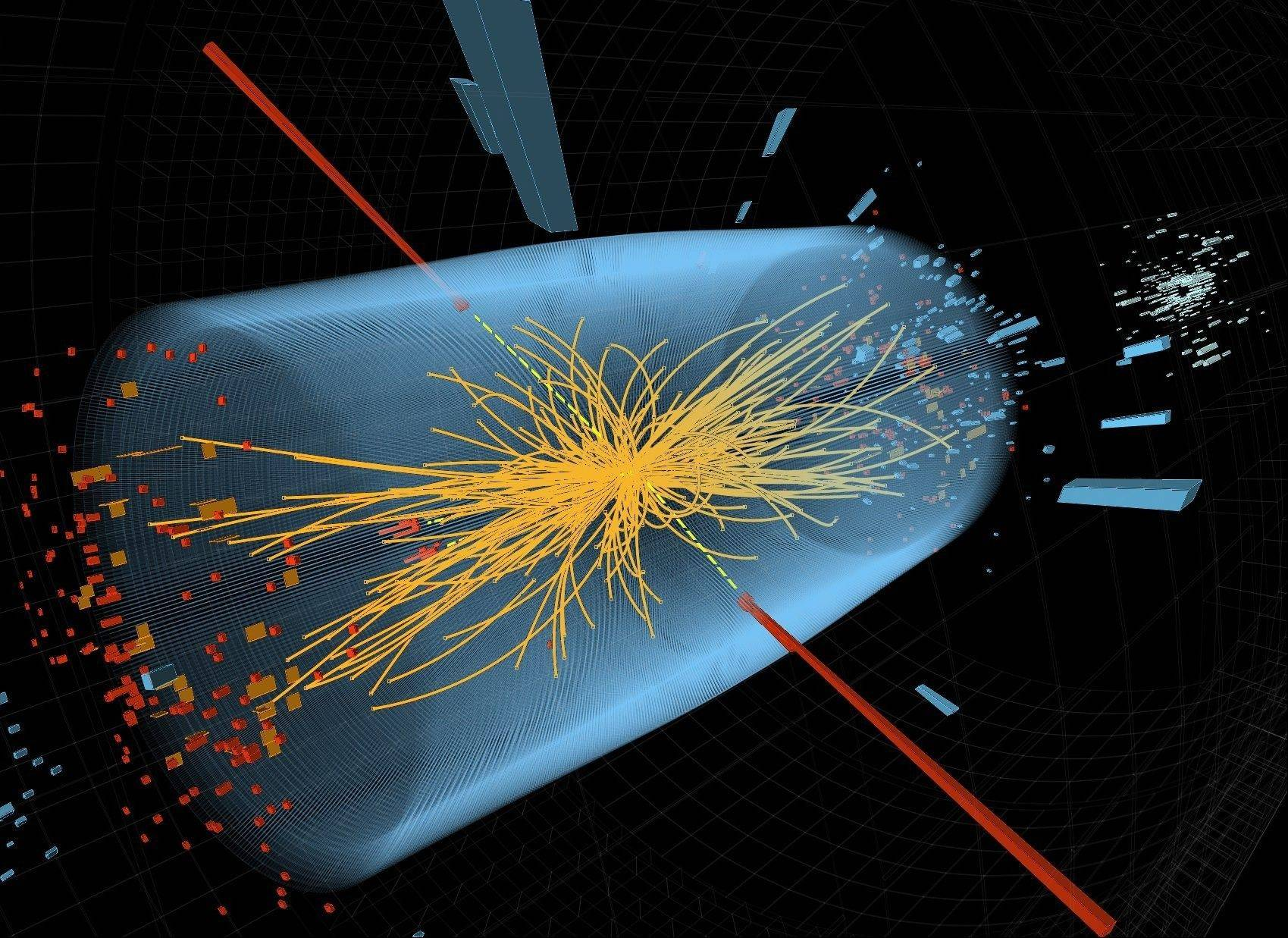This undated image shows a typical candidate event in the search for the Higgs boson, including two high-energy photons whose energy (depicted by red lines) is measured in the CMS electromagnetic calorimeter. The yellow lines are the measured tracks of other particles produced in the collision.