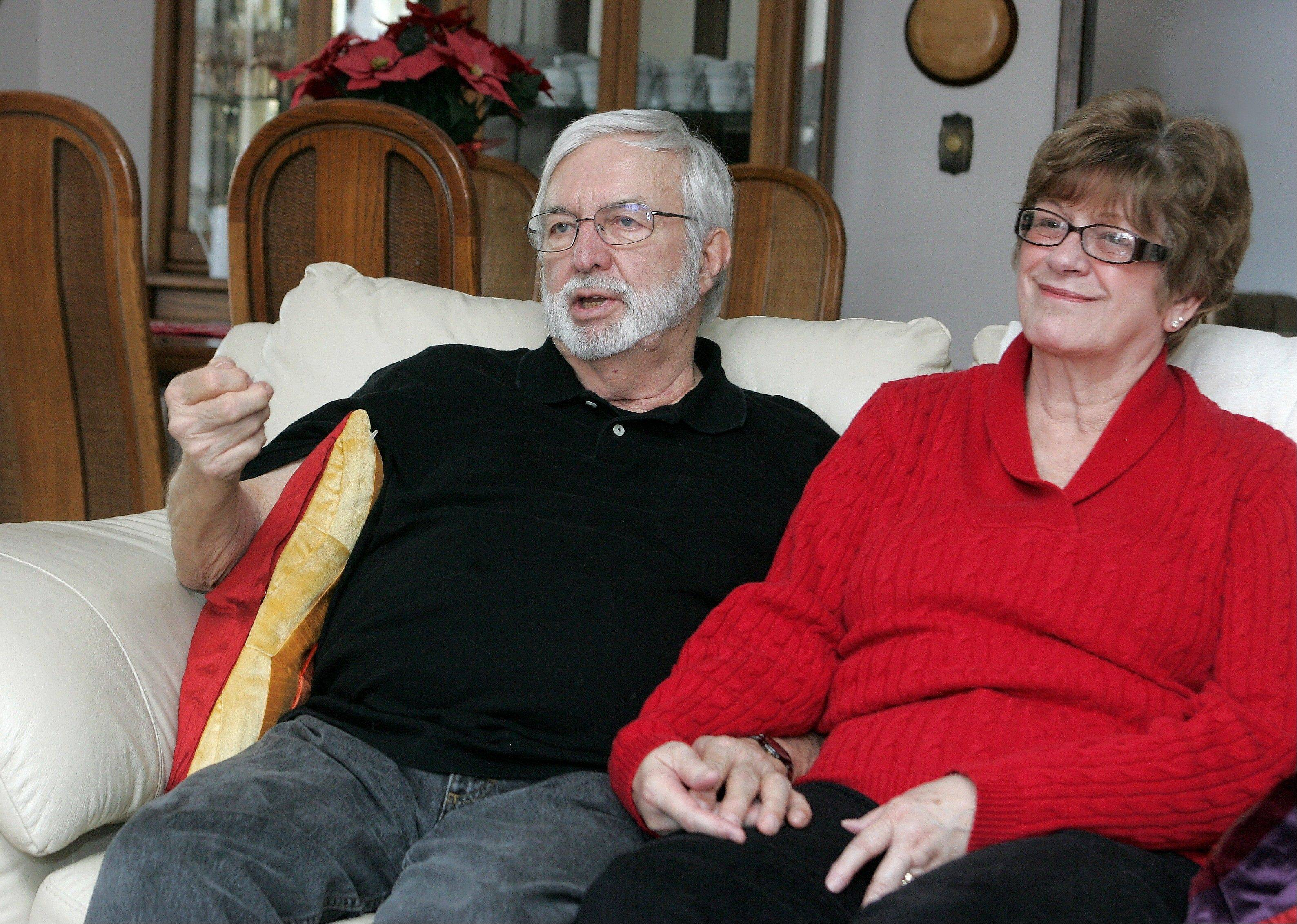 Gary Robb and his wife, Fran, sit in their Rockford home and talk about the heart transplant Gary received in April 2009.