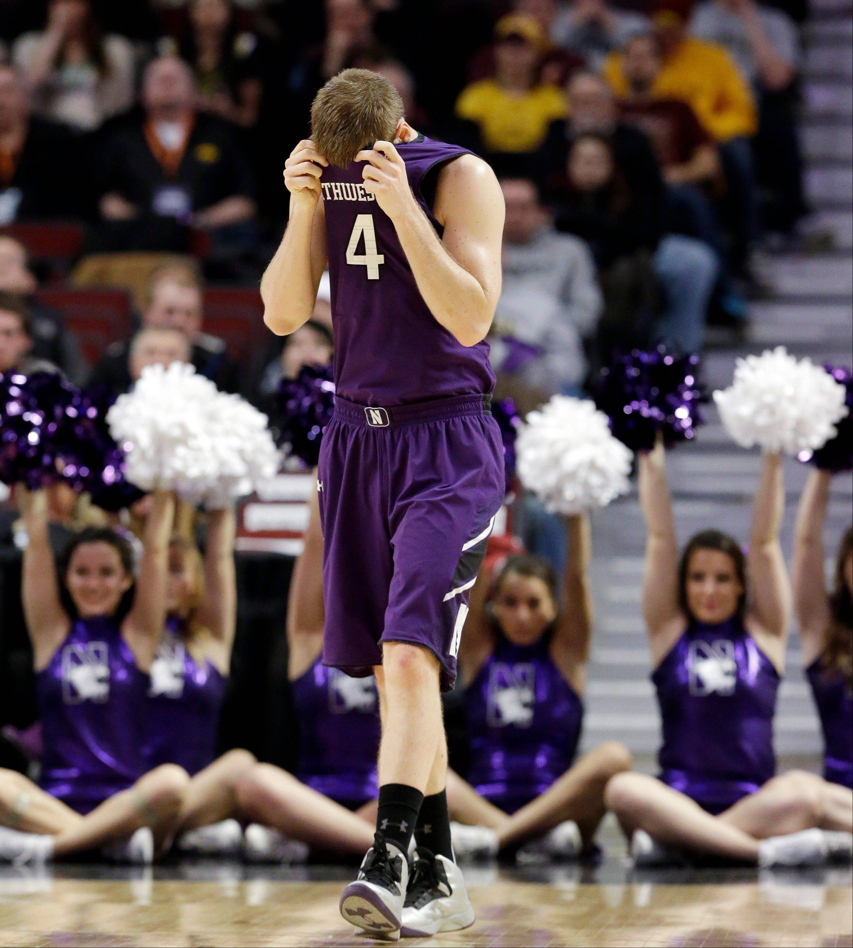 Northwestern's Alex Marcotullio reacts during the first half.