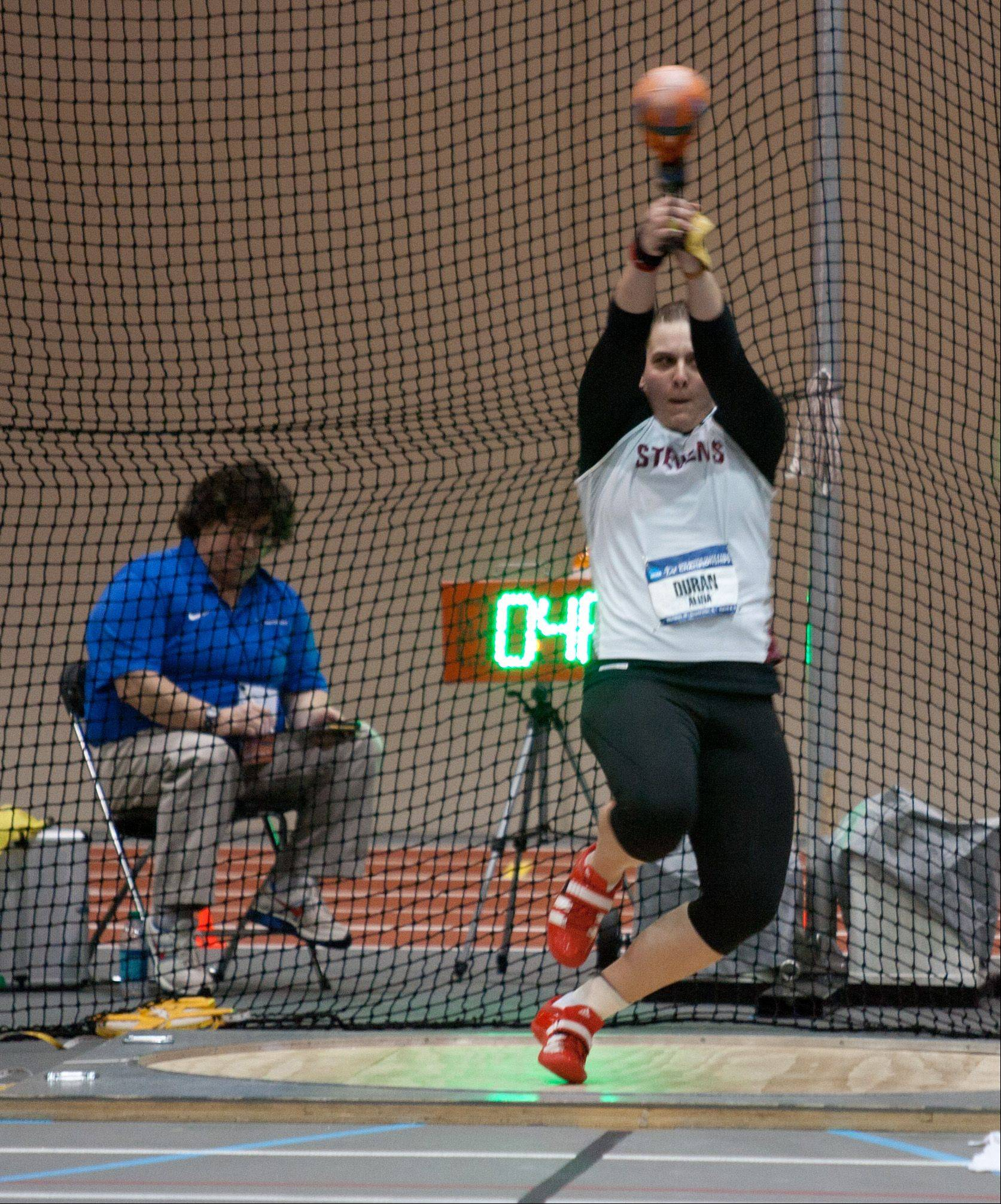 Alina Duran of Stevens Institute competes in the women�s weight throw during the NCAA Division III Indoor Track and Field Championships at North Central College in Naperville.