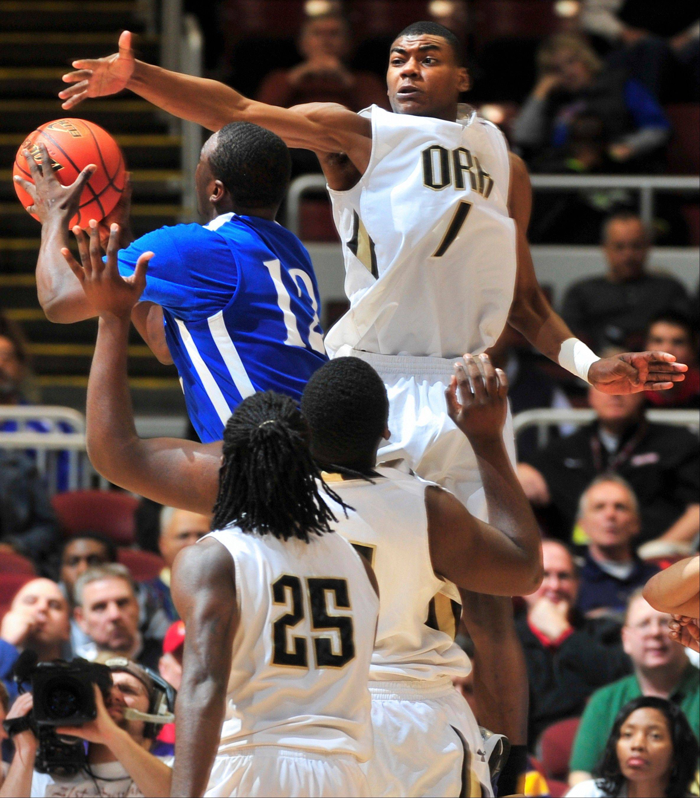 Chicago Orr�s Louis Adams rises to block the shot of Cahokia�s Vincent Jackson Jr. during Cahokia�s Class 3A state semifinal victory Friday in Peoria.