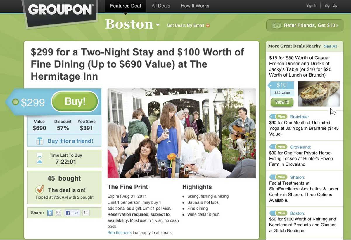This screenshot courtesy of Groupon.com shows the Groupon.com site.