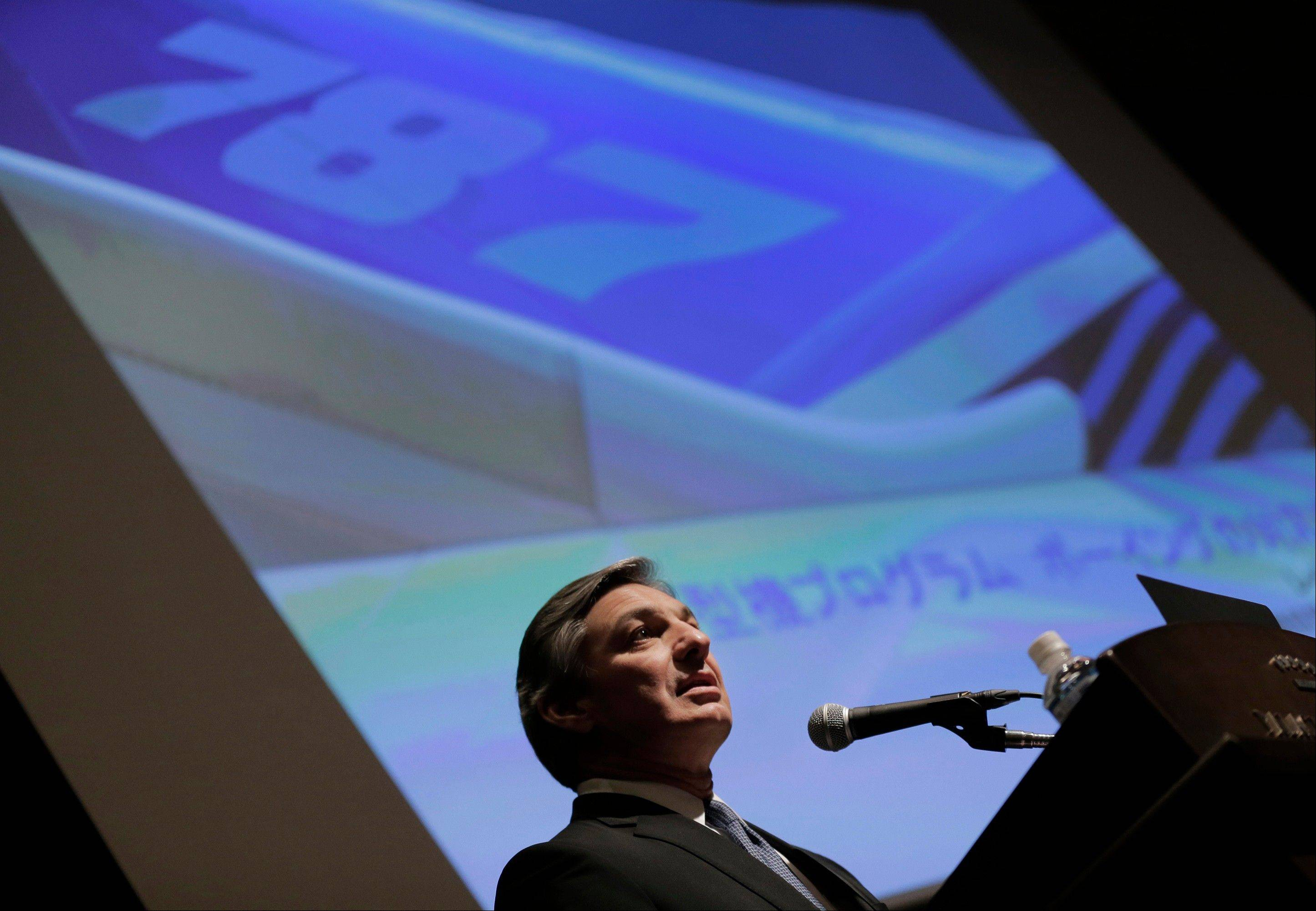 "Boeing Commercial Airplanes President and CEO Ray Conner speaks Friday during a news conference in Tokyo. Boeing executives said commercial flights of its grounded 787 jets will resume ""within weeks, not months"" with a third of safety tests already completed. They said Friday they had not pinpointed the causes of the two battery problems that resulted in the global grounding of the technologically advanced Dreamliner planes."