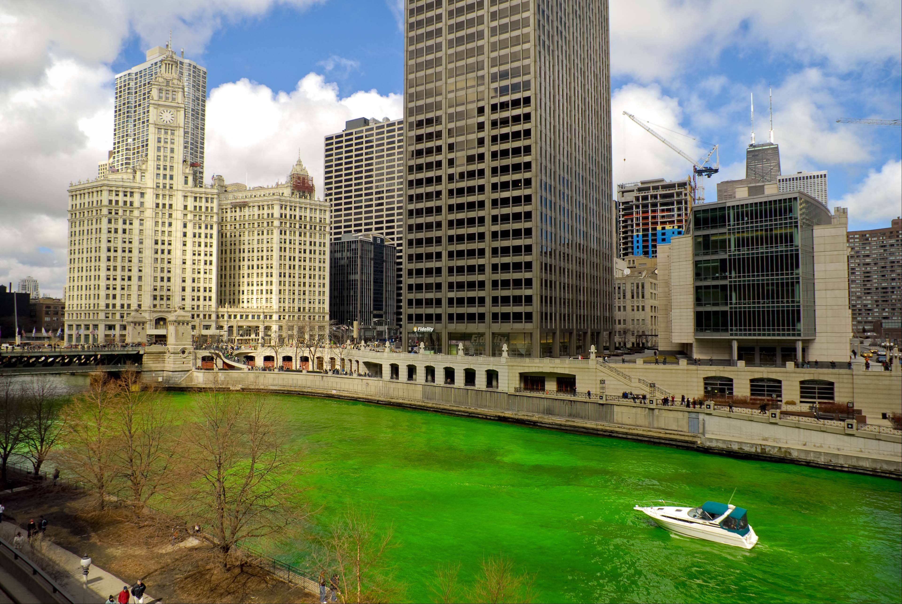The Chicago River goes green for St. Patrick's Day.