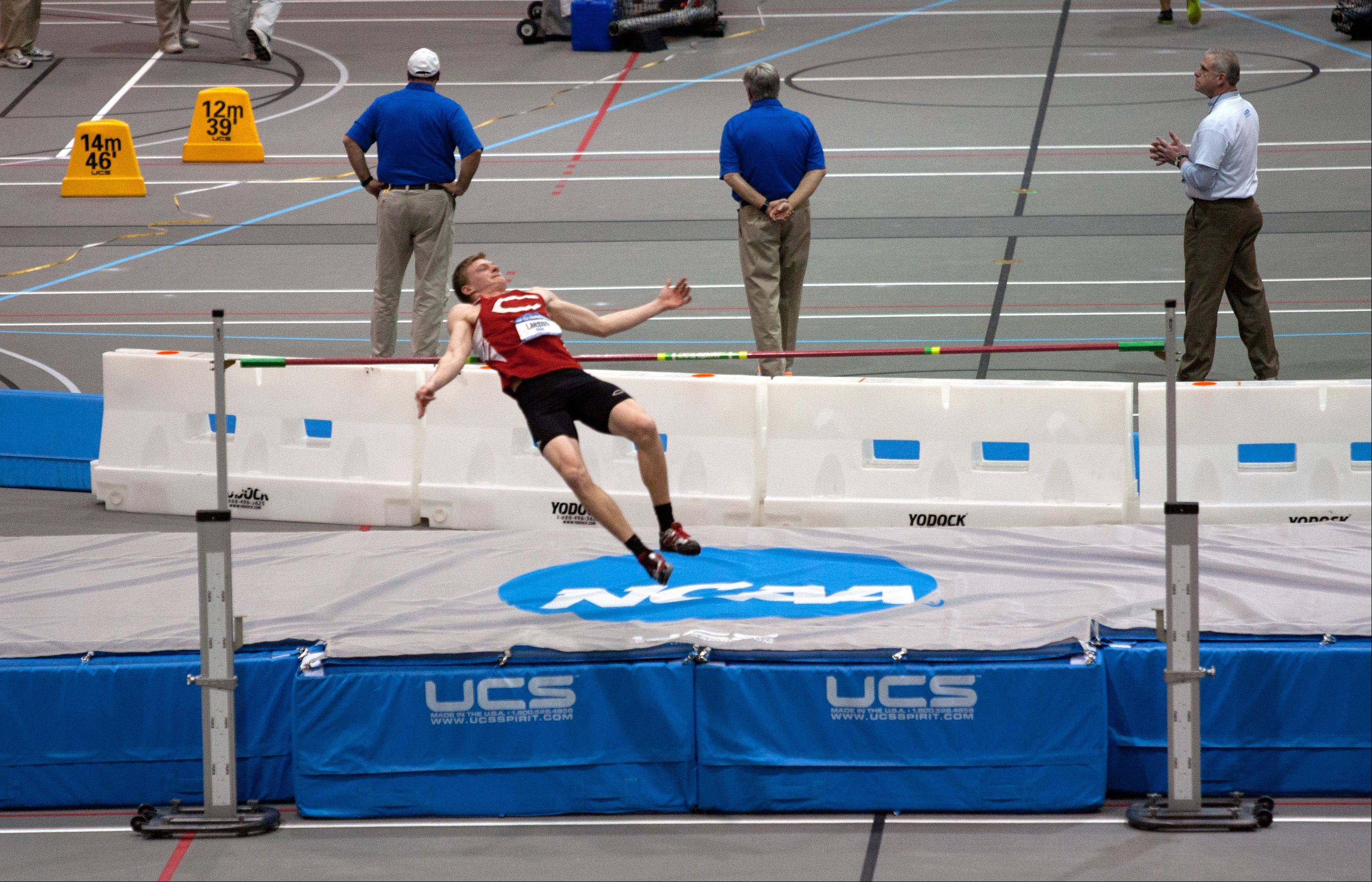 The men's heptathlon high jump winner at the NCAA Division III Indoor Track and Field Championships was Eric Larson of Central College.