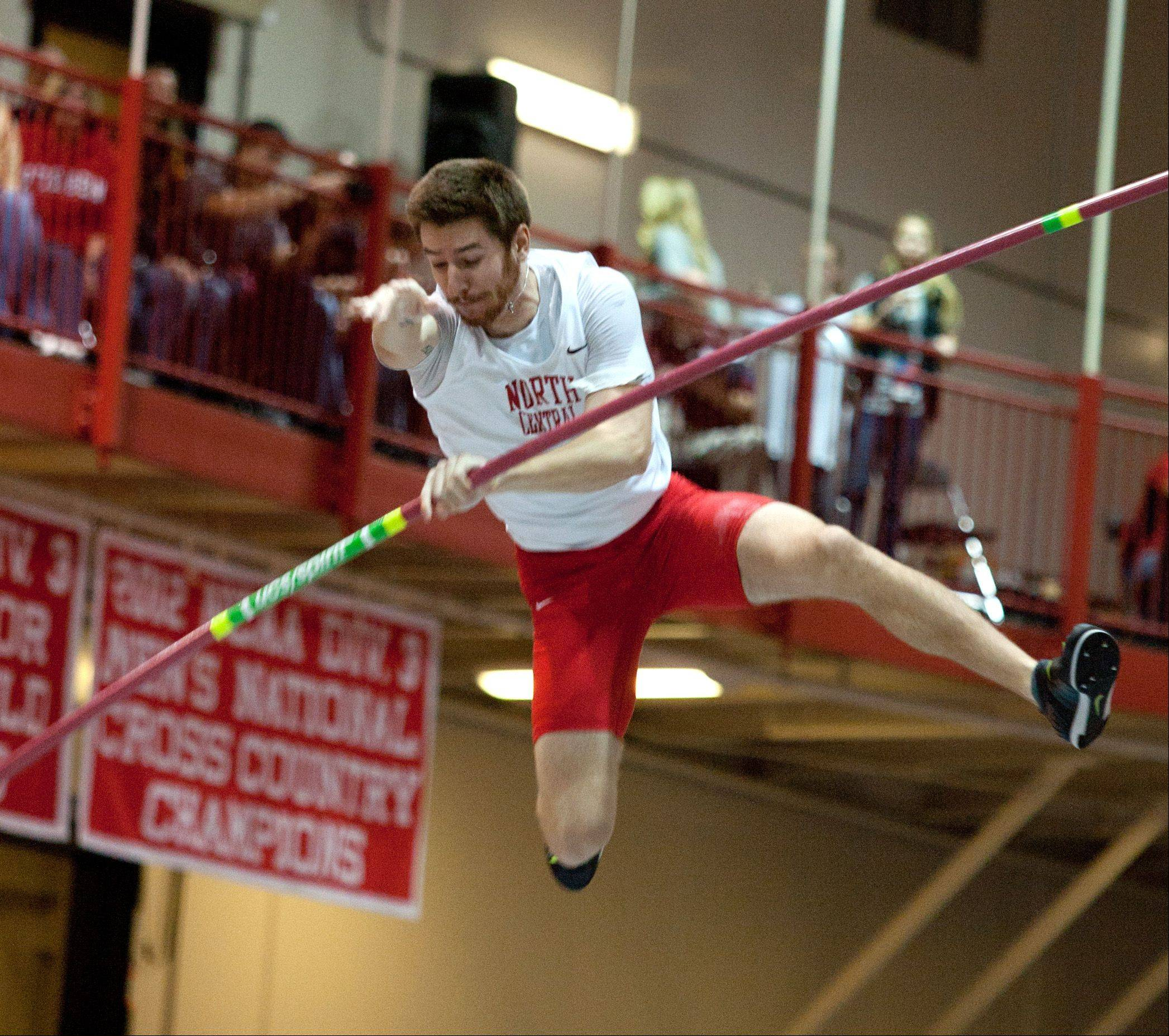 North Central College's Josh Winder holds the bar as he pole vaults March 8 during the NCAA Division III Indoor Track and Field Championships in Naperville. Winder, a former national champion pole vaulter, finished third.