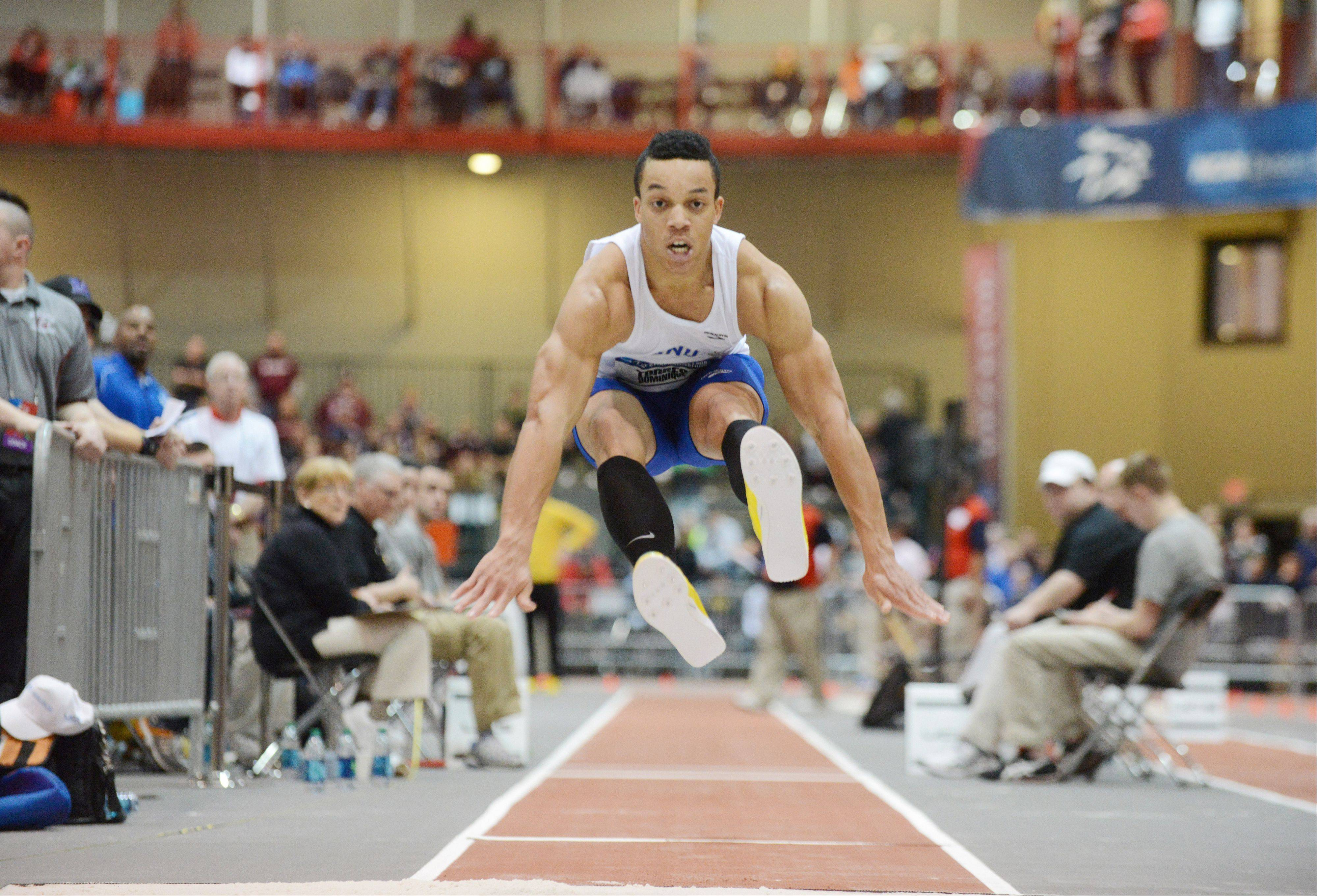 Dominique Torres of Christopher Newport University competes in the triple jump during the NCAA Division III Indoor Track and Field Championships March 9 at North Central College in Naperville.