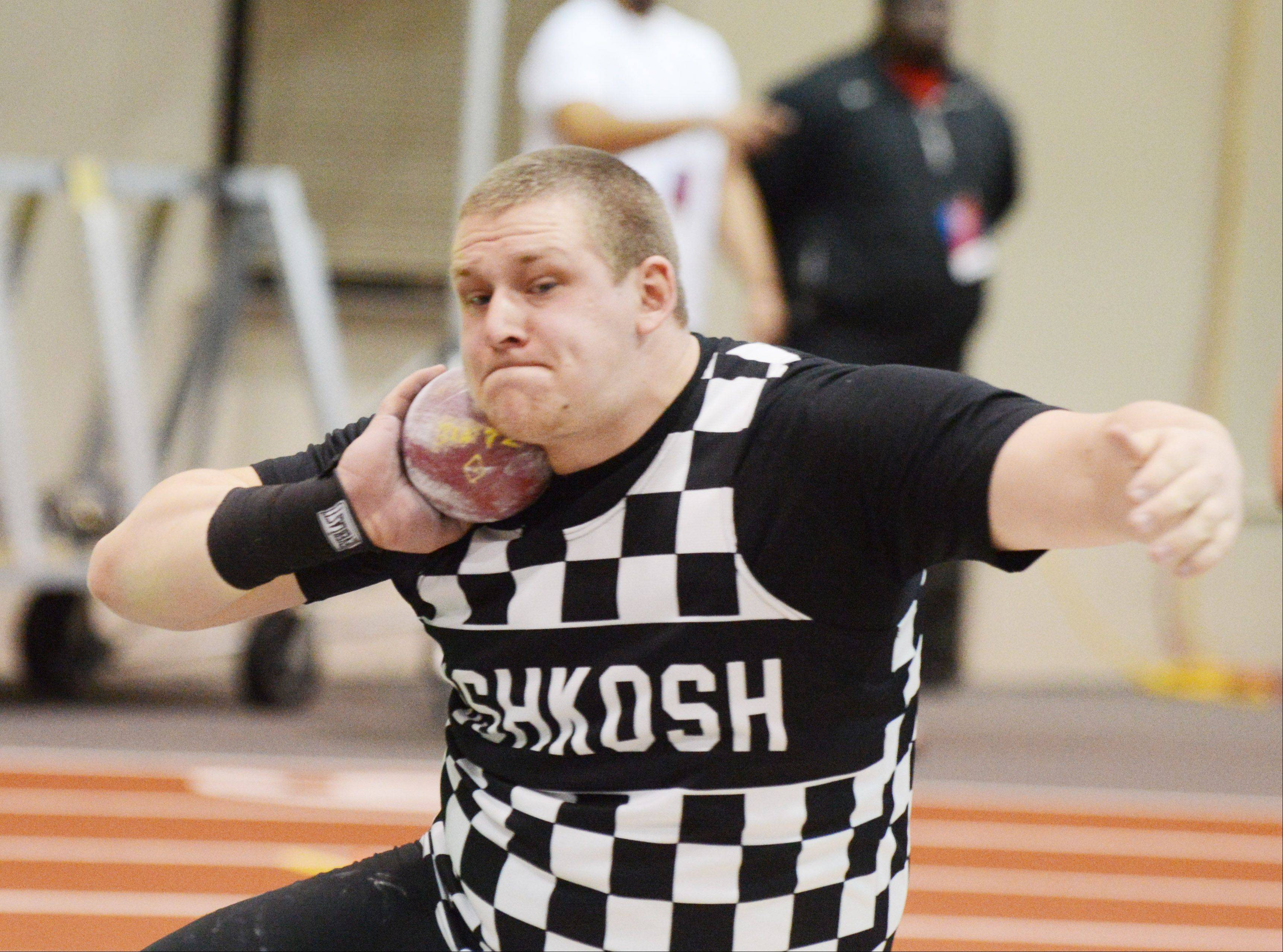 Nick Baatz of the University of Wisconsin-Oshkosh prepares to throw the shot put March 9 during the NCAA Division III Indoor Track and Field Championships at North Central College.