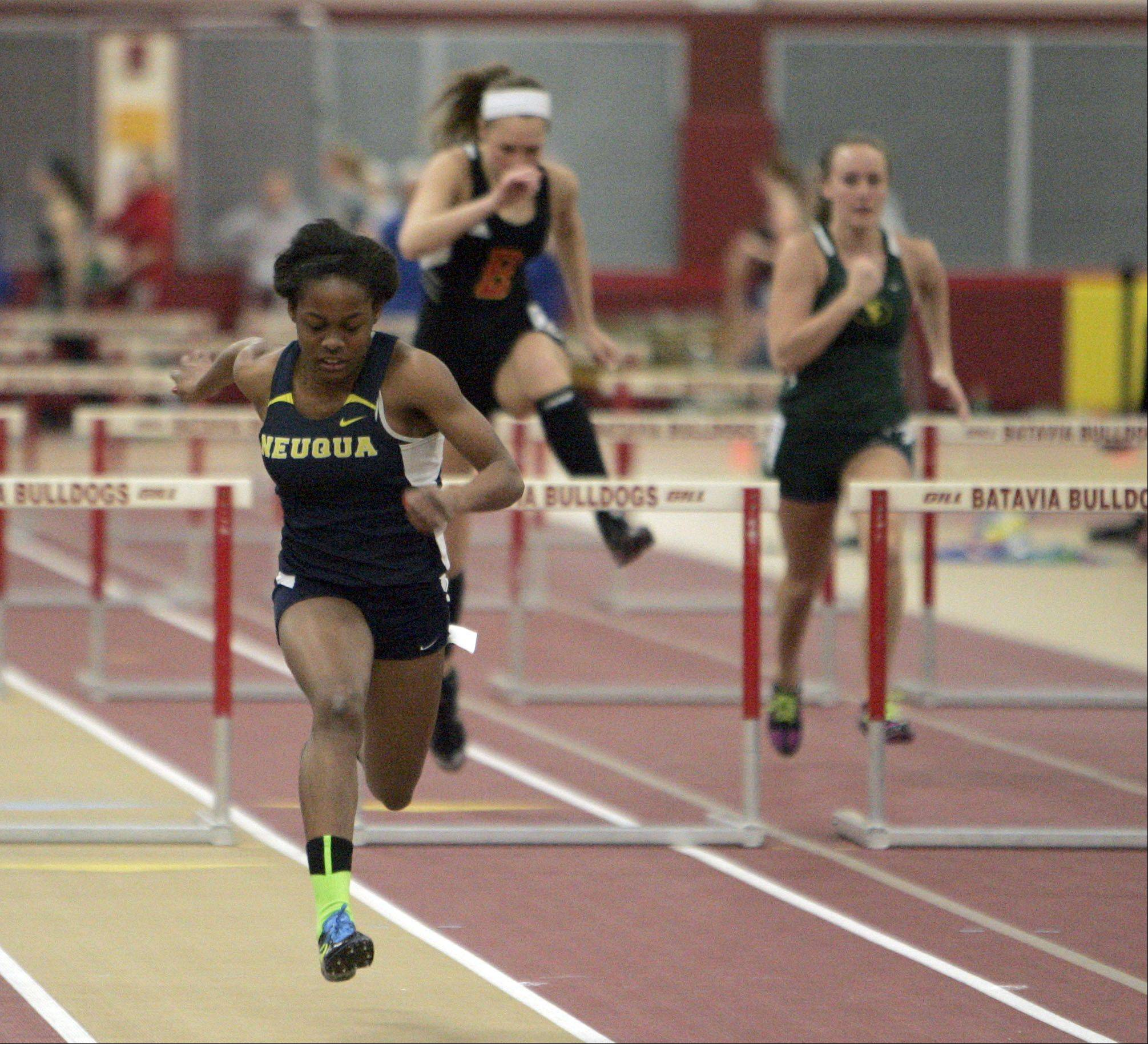 Maya Neal of Neuqua Valley in the 55 meter hurdles during the Upstate Eight Conference indoor track meet at Batavia High School Friday.