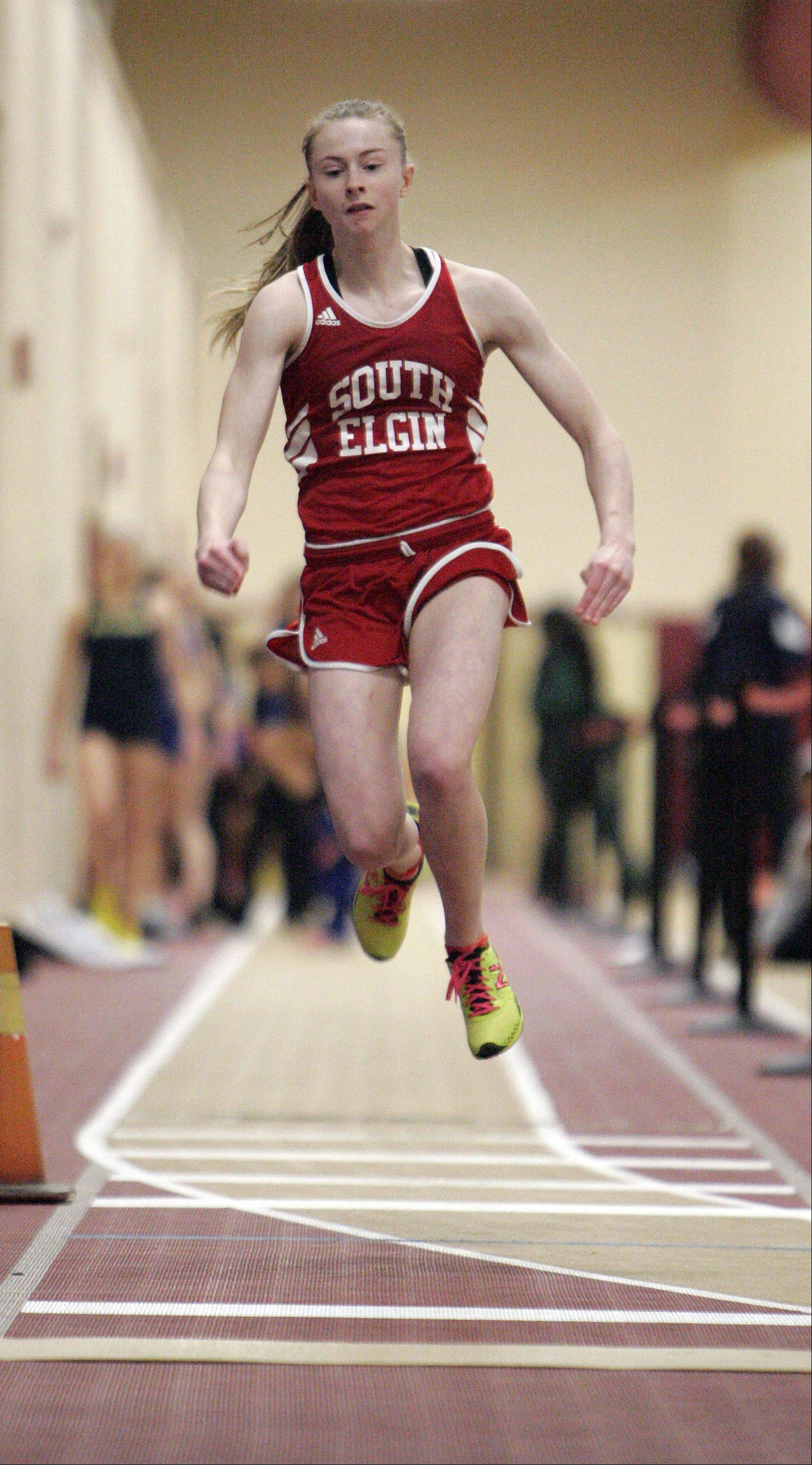 Emalee Smith of South Elgin in the triple jump during the Upstate Eight Conference indoor track meet at Batavia High School Friday.