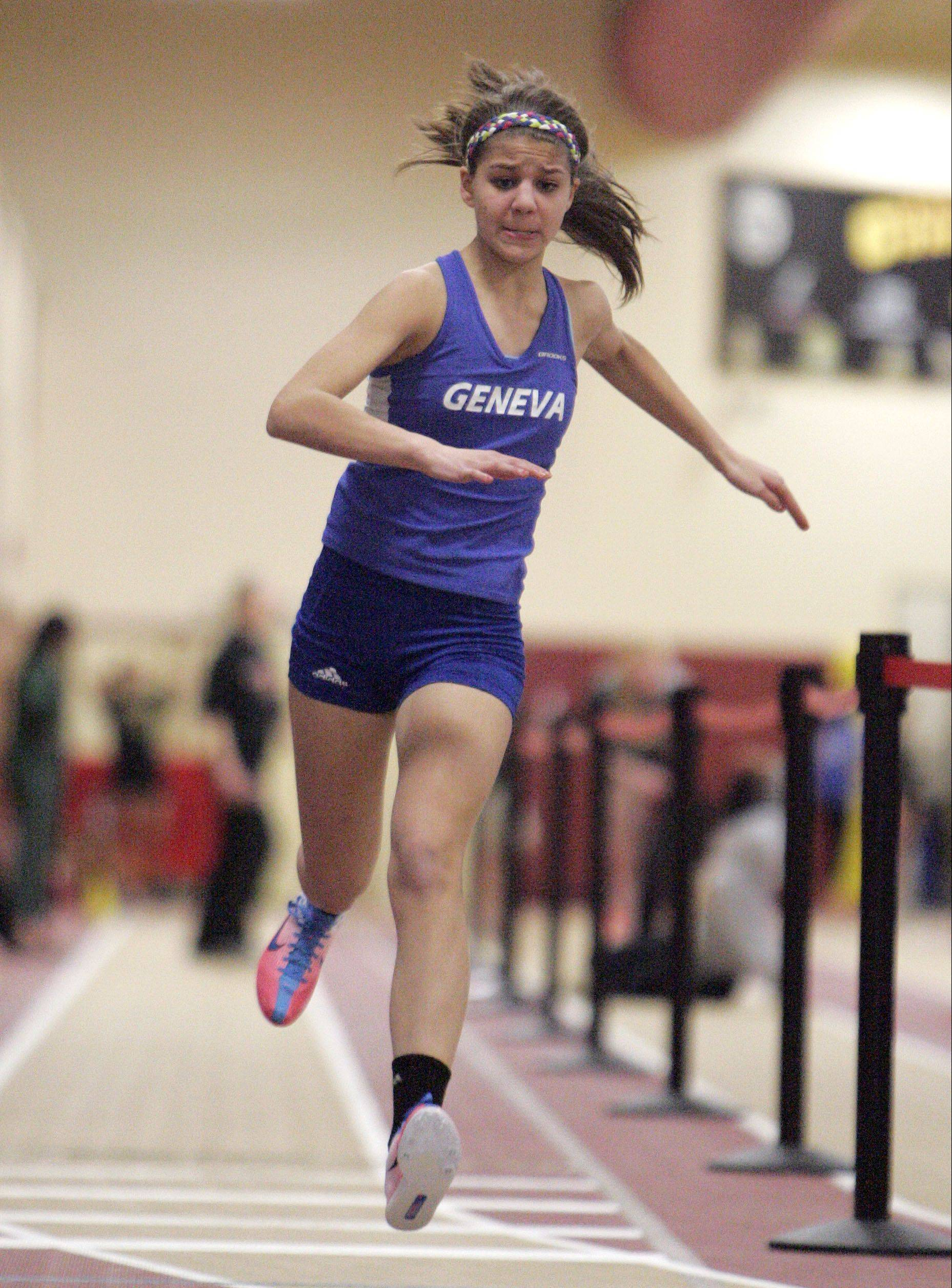 McKenna Happold of Geneva in the triple jump during the Upstate Eight Conference indoor track meet at Batavia High School Friday.