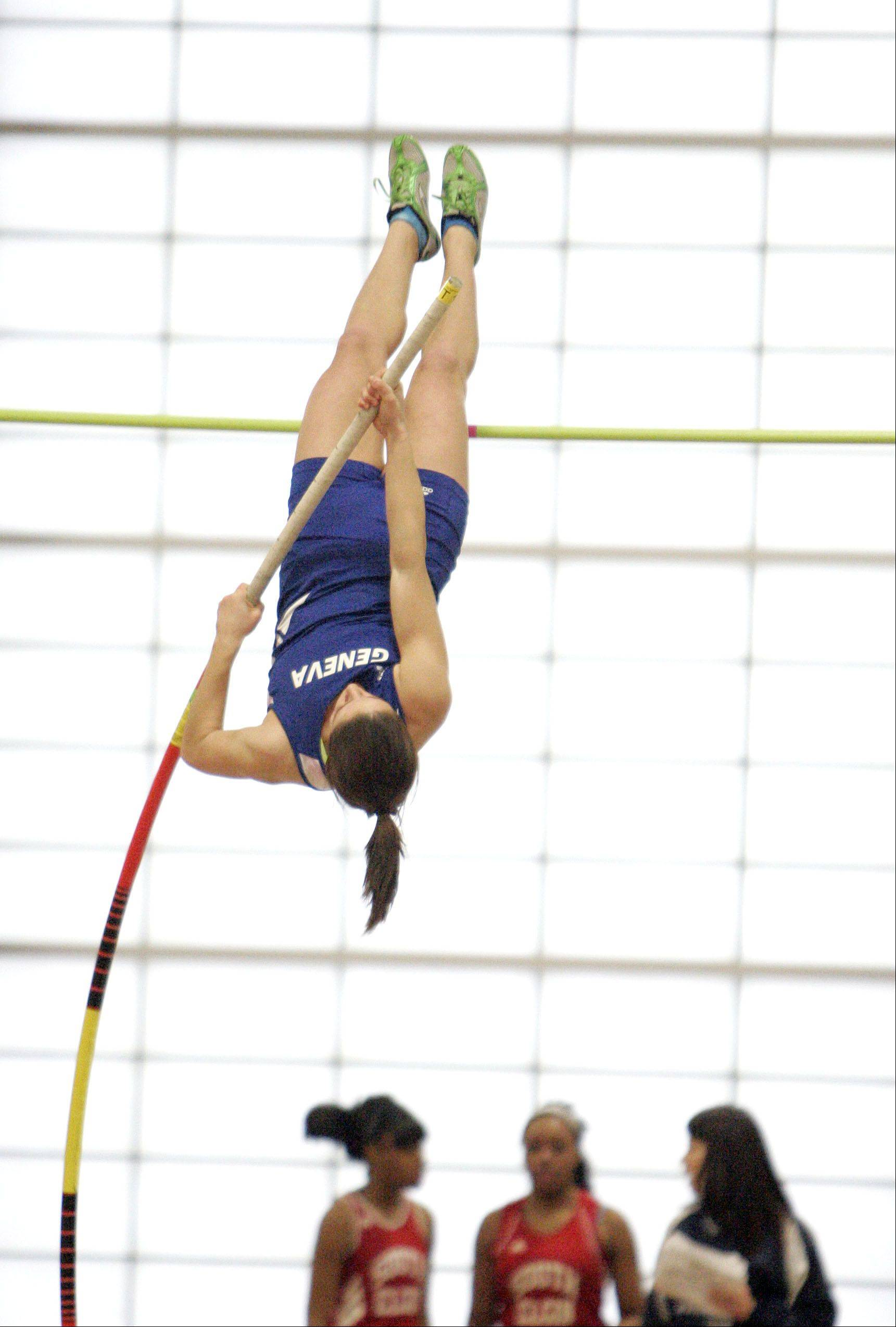 Jenna Ginsberg of Geneva in the pole vault during the Upstate Eight Conference indoor track meet at Batavia High School Friday.