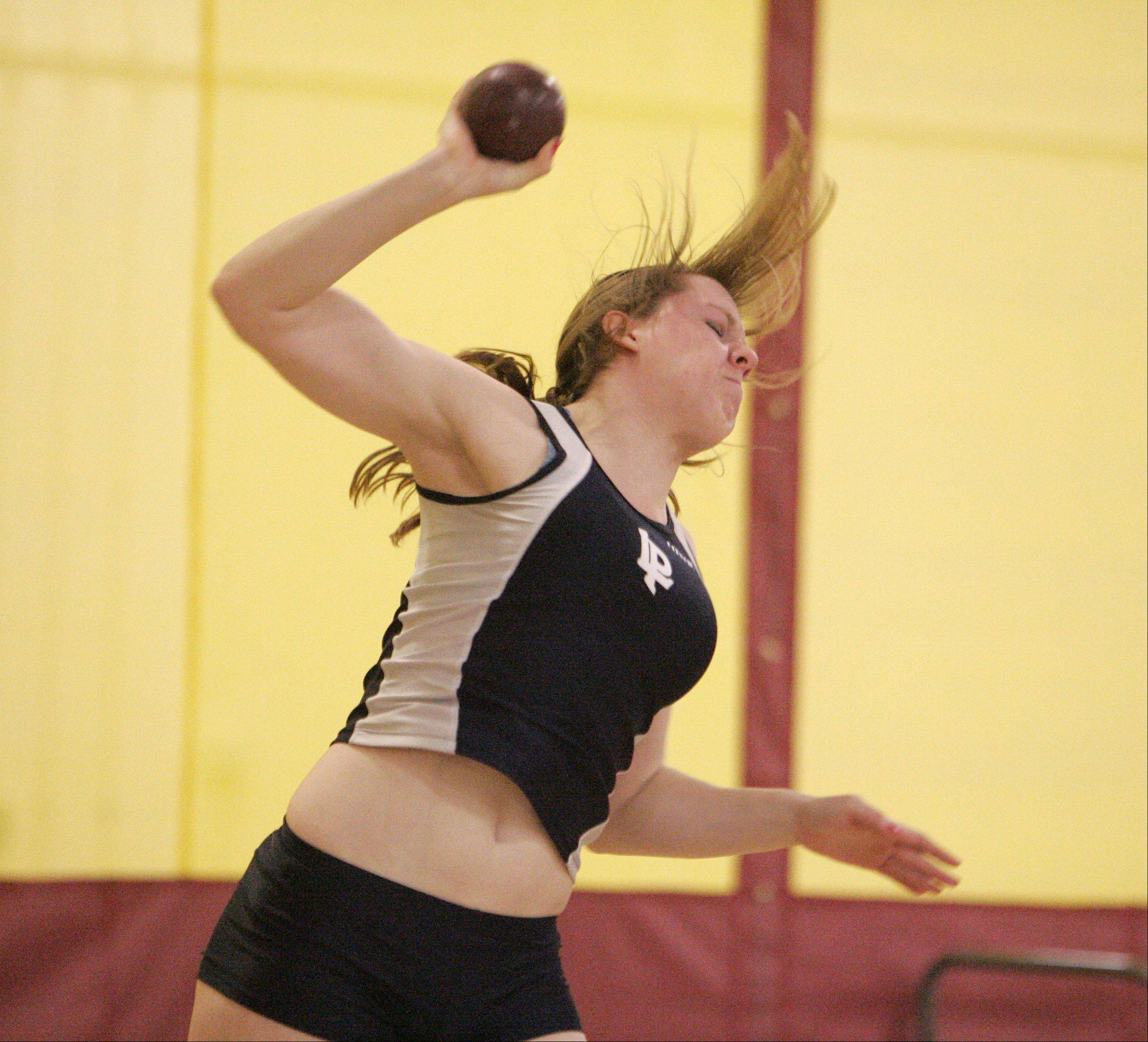 Sarah Nickison of Lake Park in the shot put during the Upstate Eight Conference indoor track meet at Batavia High School Friday.