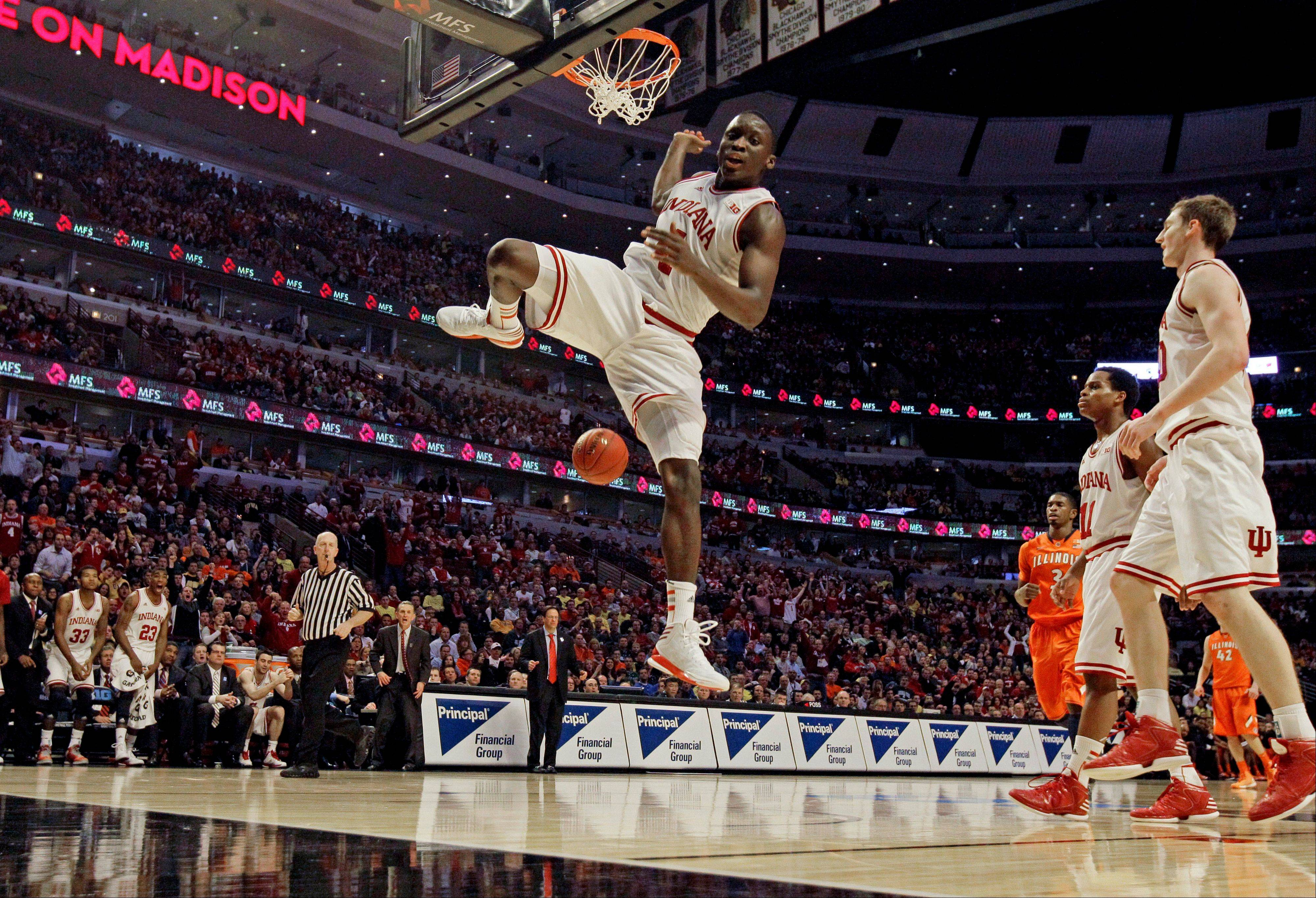 Indiana's Victor Oladipo dunks during the second half of an NCAA college basketball game at the Big Ten tournament against Illinois Friday, March 15, 2013, in Chicago. Indiana won 80-64.