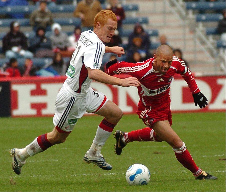 New Fire midfielder Jeff Larentowicz, left, was a Fire nemesis when he played at New England. He later won the MLS Cup with Colorado before joining the Fire this season.