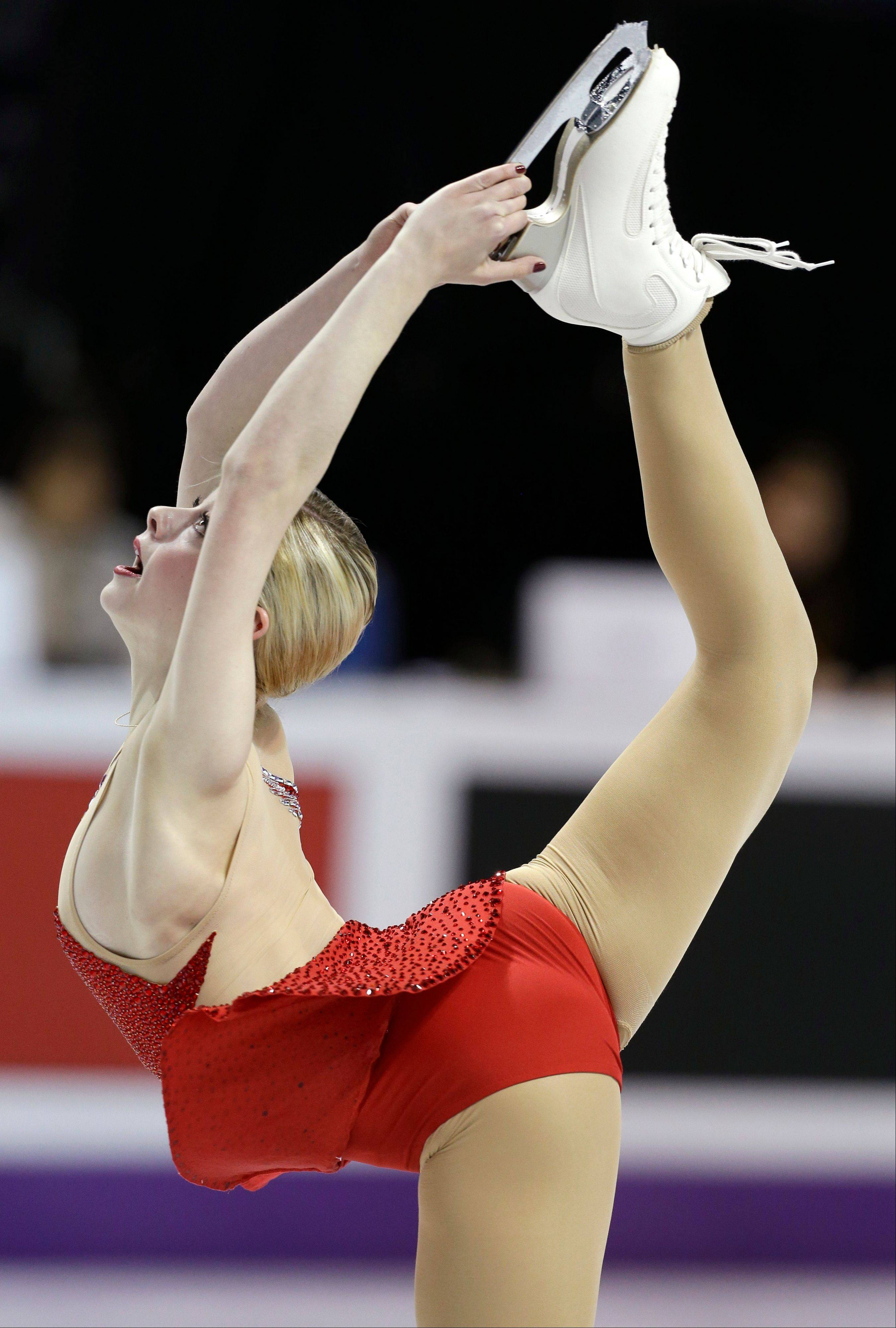 Gracie Gold of the United States performs during the ladies short program at the World Figure Skating Championships Thursday, March 14, 2013, in London, Ontario.