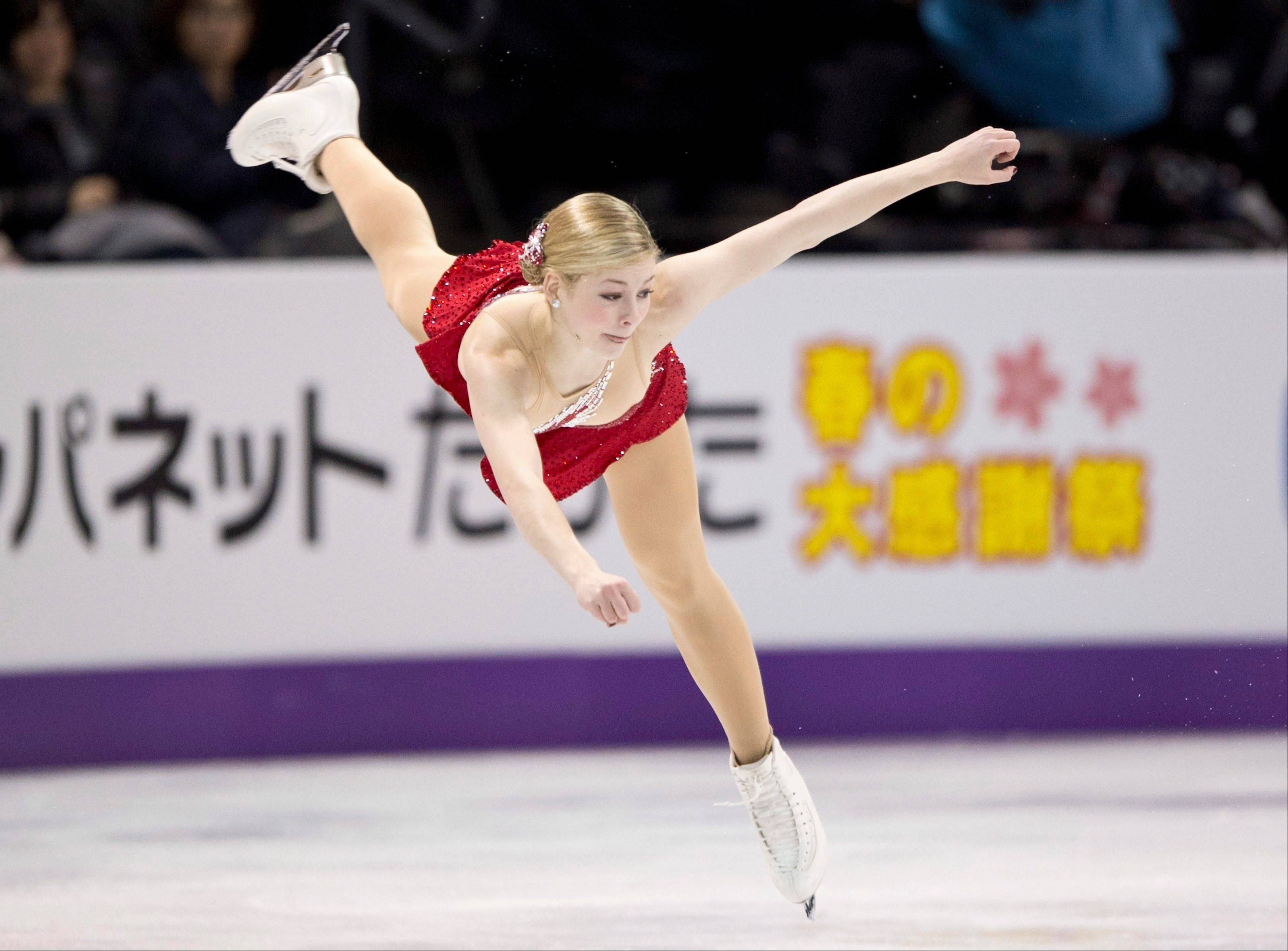 Gracie Gold, from the United States, performs her routine during the ladies short program at the World Figure Skating Championships Thursday, March 14, 2013, in London, Ontario.