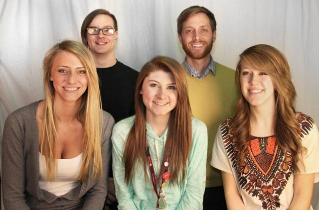 Pathways Photo Shoot group: Palatine High School advanced student photographers and their teacher who participated in the Pathways Photo Shoot include (left to right)-Top row: Spencer Brown, Nick Hosert (teacher); Bottom row: Taylor Fricano, Jessica Grapenthin, Alyssa Froehling