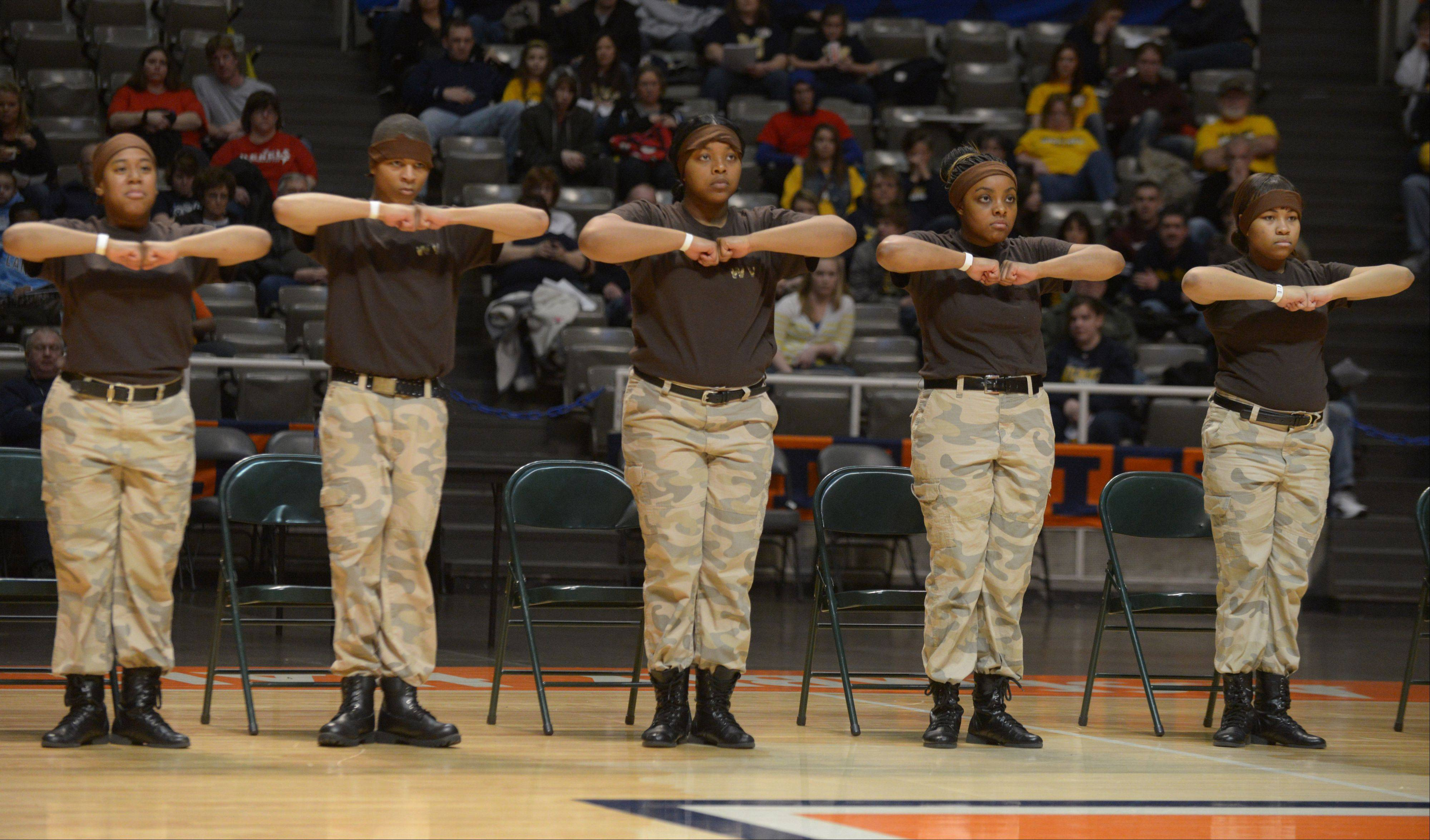 The Waubonsie Valley AAA Step team takes part in the Illinois Drill Team Association State Championships, held at University of Illinois Assembly Hall Saturday.