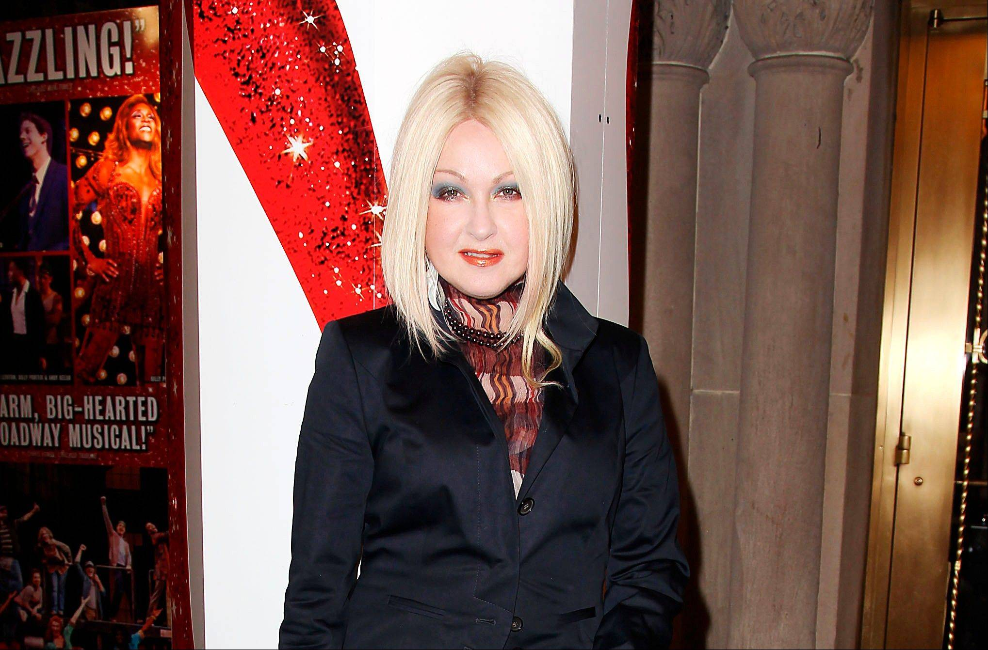 "Cyndi Lauper at the open house for the upcoming musical ""Kinky Boots,"" featuring music written by her, at the Al Hirshfeld Theatre in New York."